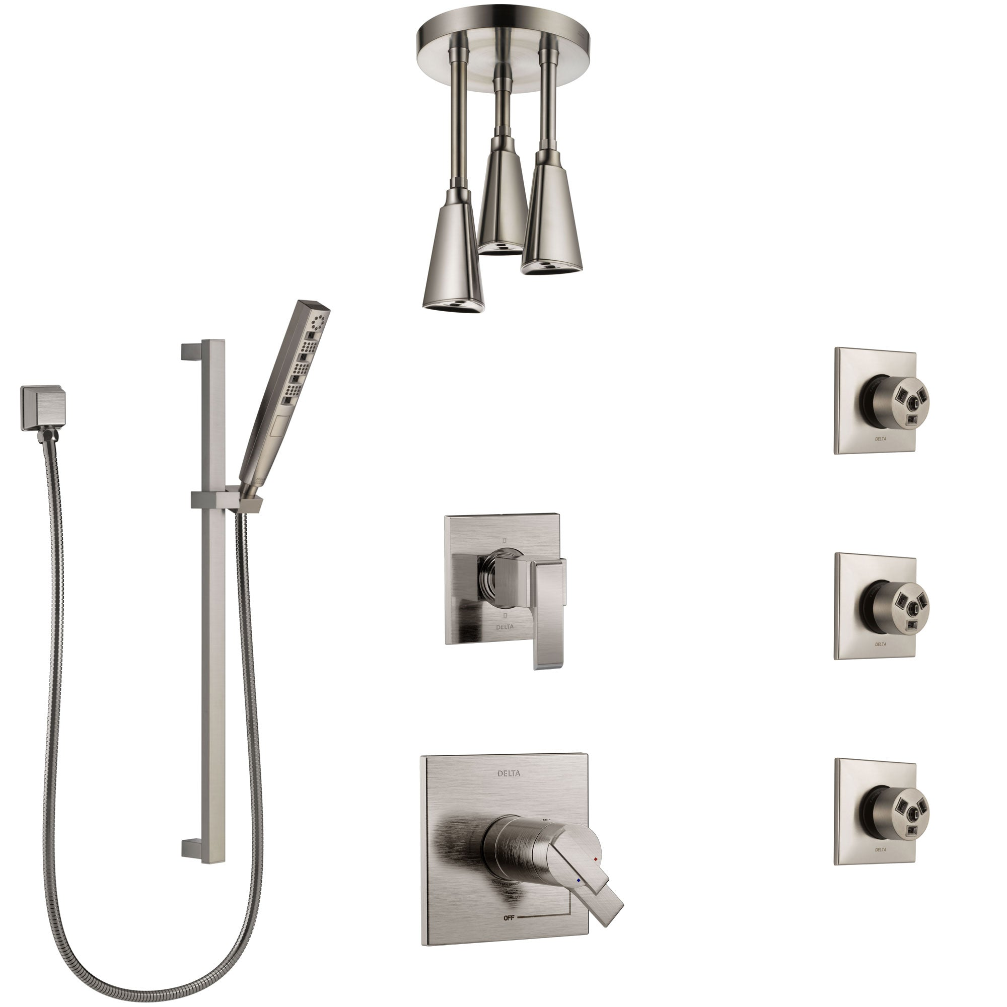 Delta Ara Dual Thermostatic Control Stainless Steel Finish Shower System, Diverter, Ceiling Showerhead, 3 Body Sprays, and Hand Shower SS17T671SS4