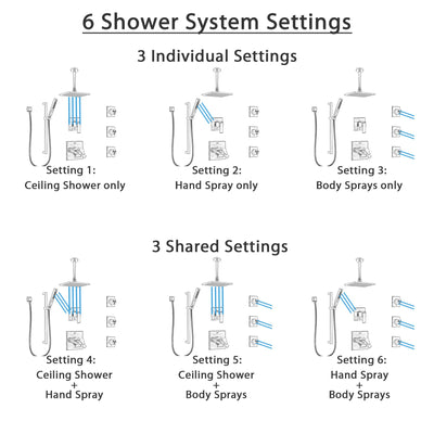 Delta Ara Dual Thermostatic Control Stainless Steel Finish Shower System, Diverter, Ceiling Showerhead, 3 Body Sprays, and Hand Shower SS17T671SS5
