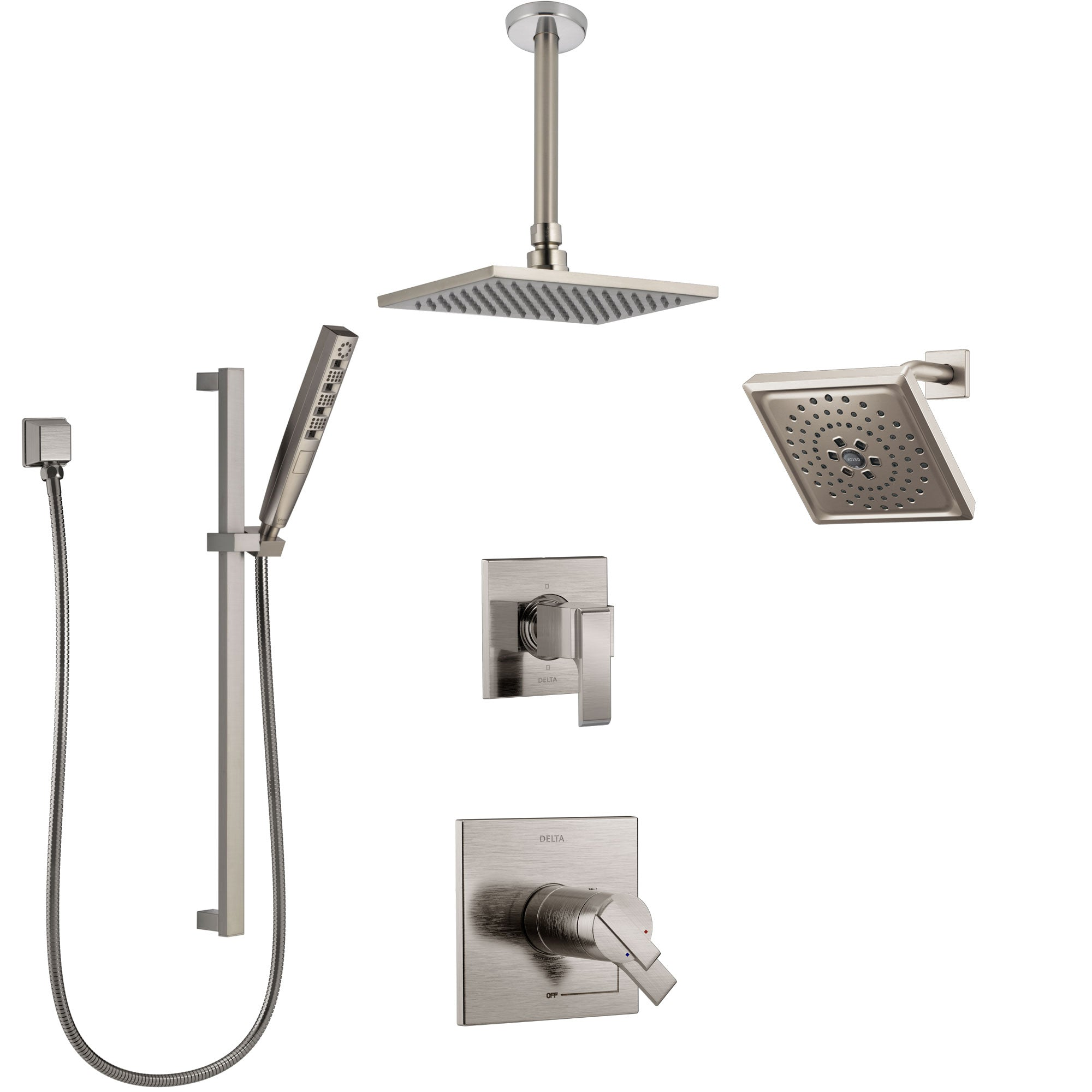 Delta Ara Dual Thermostatic Control Stainless Steel Finish Shower System Diverter Showerhead Ceiling Mount Showerhead And Hand Shower Ss17t671ss7