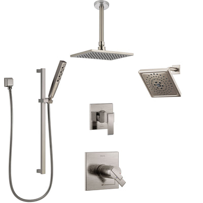 Delta Ara Dual Thermostatic Control Stainless Steel Finish Shower System, Diverter, Showerhead, Ceiling Mount Showerhead, and Hand Shower SS17T671SS7