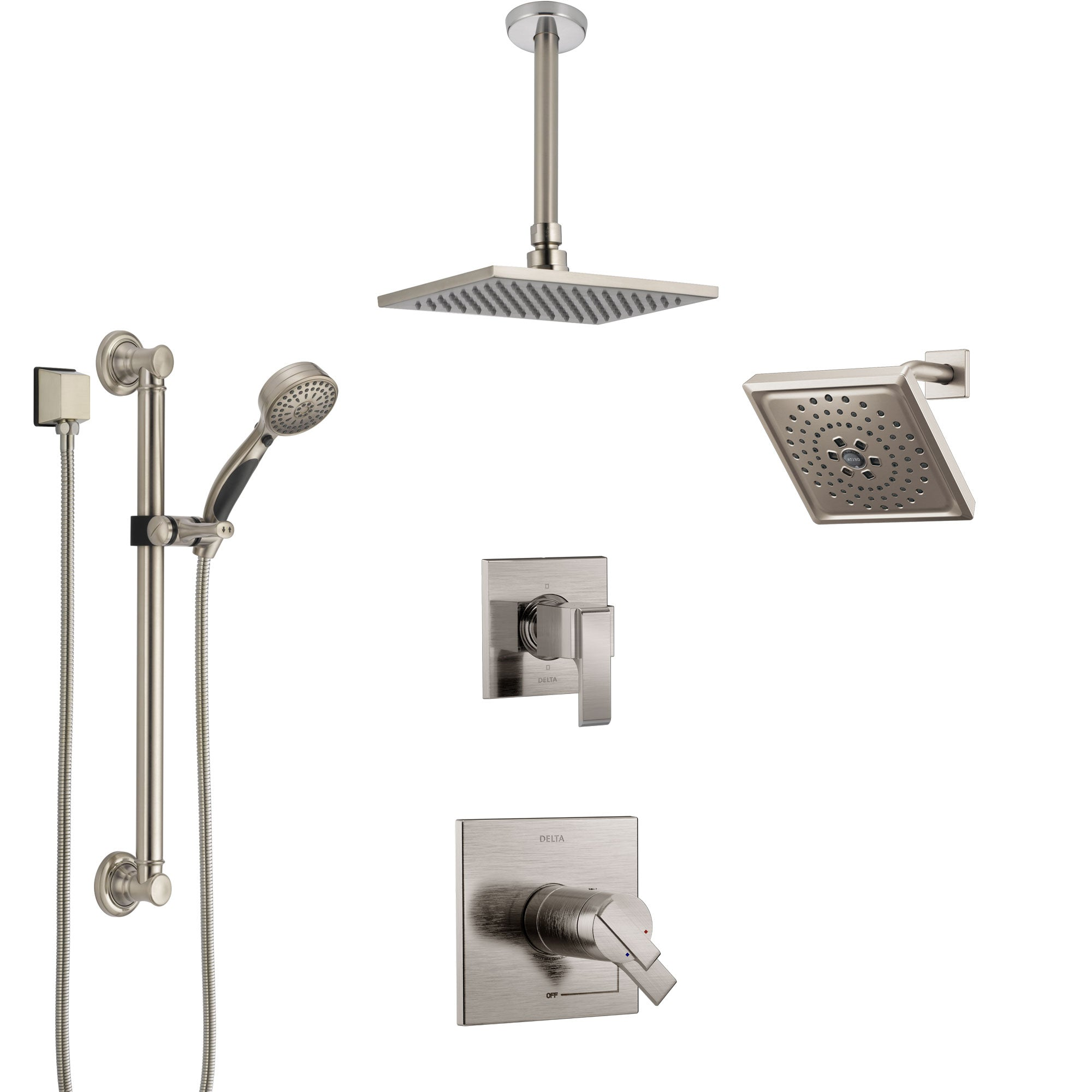Delta Ara Dual Thermostatic Control Stainless Steel Finish Shower System, Diverter, Showerhead, Ceiling Showerhead, Grab Bar Hand Spray SS17T671SS8