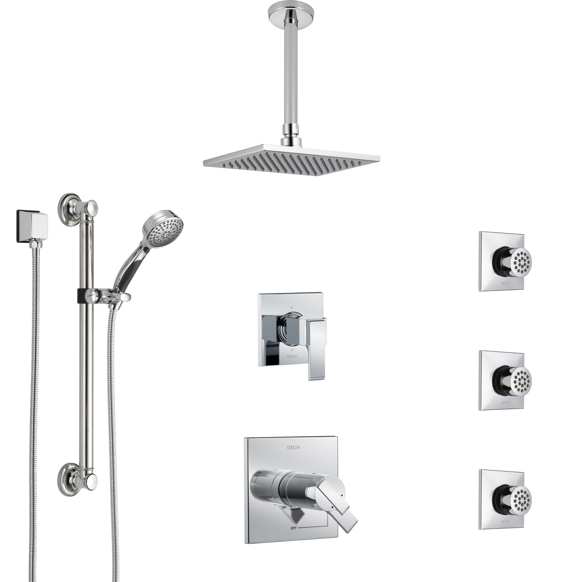 Delta Ara Chrome Shower System with Dual Thermostatic Control, Diverter, Ceiling Mount Showerhead, 3 Body Sprays, and Grab Bar Hand Shower SS17T6721
