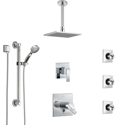 Delta Ara Chrome Shower System with Dual Thermostatic Control, Diverter, Ceiling Mount Showerhead, 3 Body Sprays, and Grab Bar Hand Shower SS17T6722