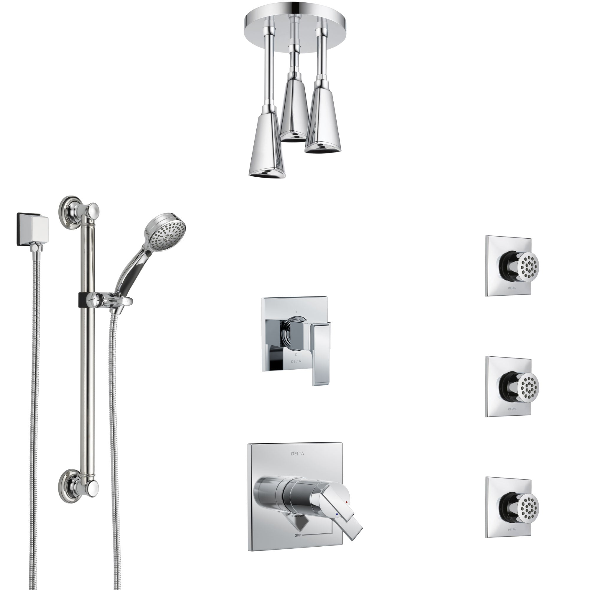 Delta Ara Chrome Shower System with Dual Thermostatic Control, Diverter, Ceiling Mount Showerhead, 3 Body Sprays, and Grab Bar Hand Shower SS17T6724
