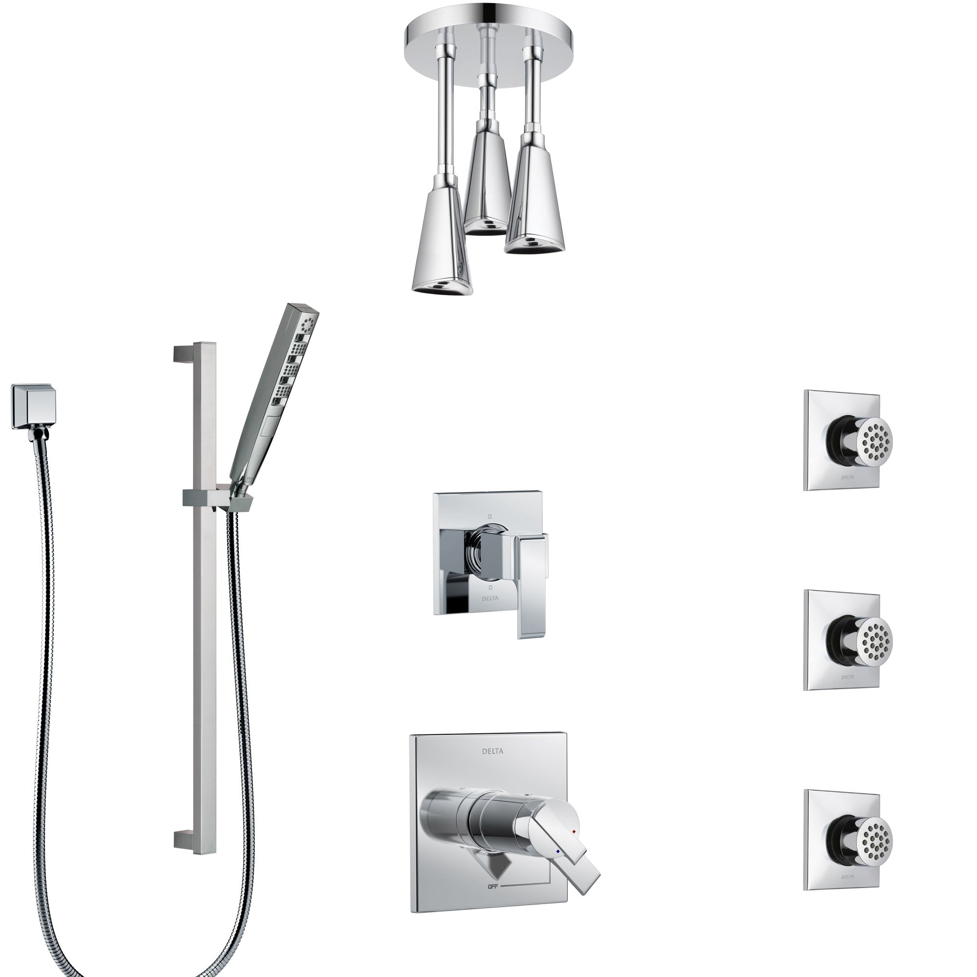 Delta Ara Chrome Shower System with Dual Thermostatic Control, 6-Setting Diverter, Ceiling Mount Showerhead, 3 Body Sprays, and Hand Shower SS17T6725