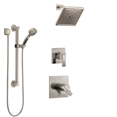 Delta Ara Dual Thermostatic Control Handle Stainless Steel Finish Shower System, Diverter, Showerhead, and Hand Shower with Grab Bar SS17T672SS1