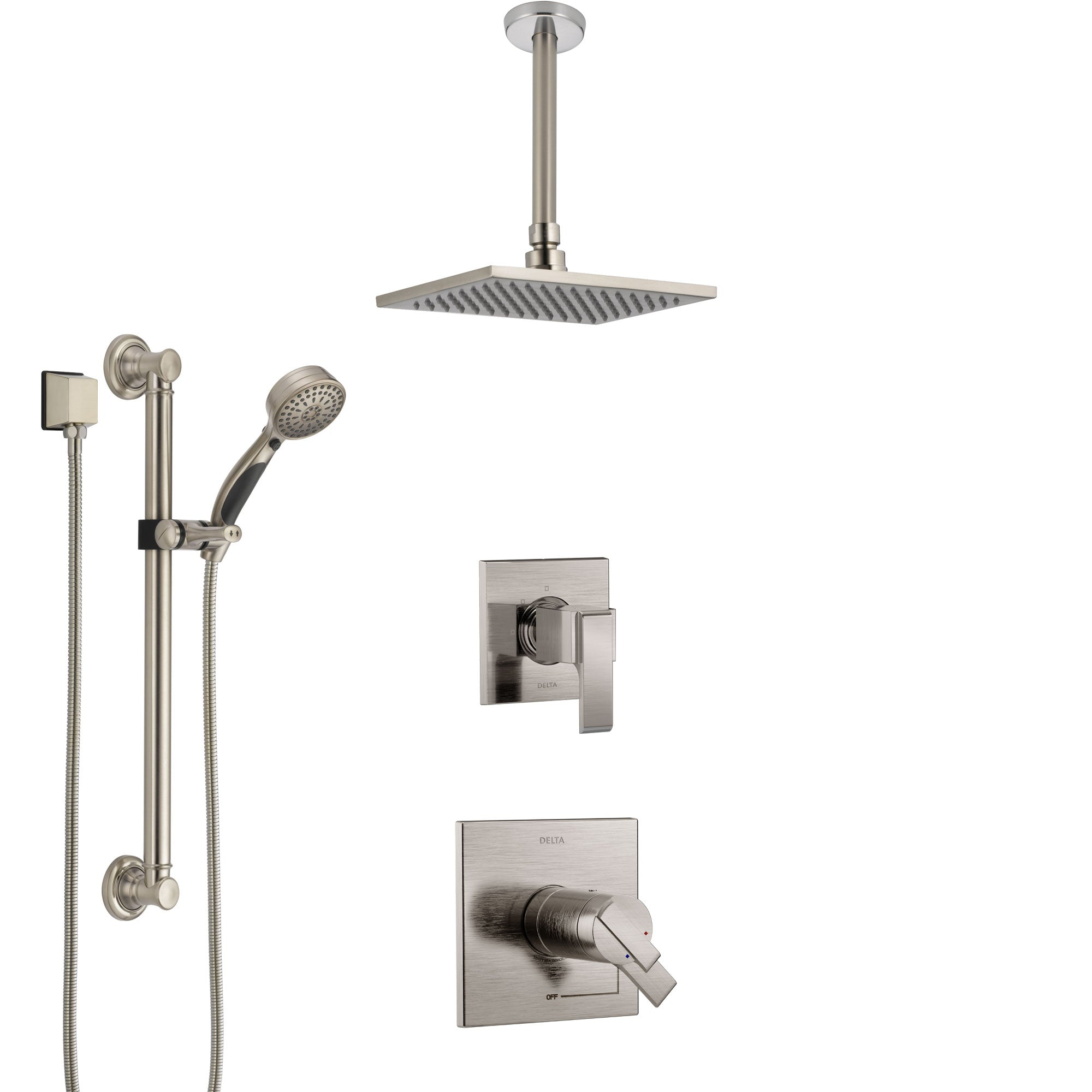 Delta Ara Dual Thermostatic Control Stainless Steel Finish Shower System, Diverter, Ceiling Mount Showerhead, and Grab Bar Hand Shower SS17T672SS3