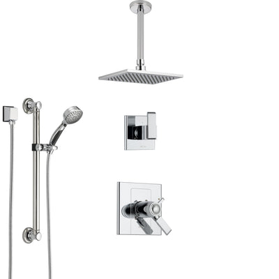 Shower Systems with Ceiling Mounted Rain Showerhead and Hand Shower Sprayer