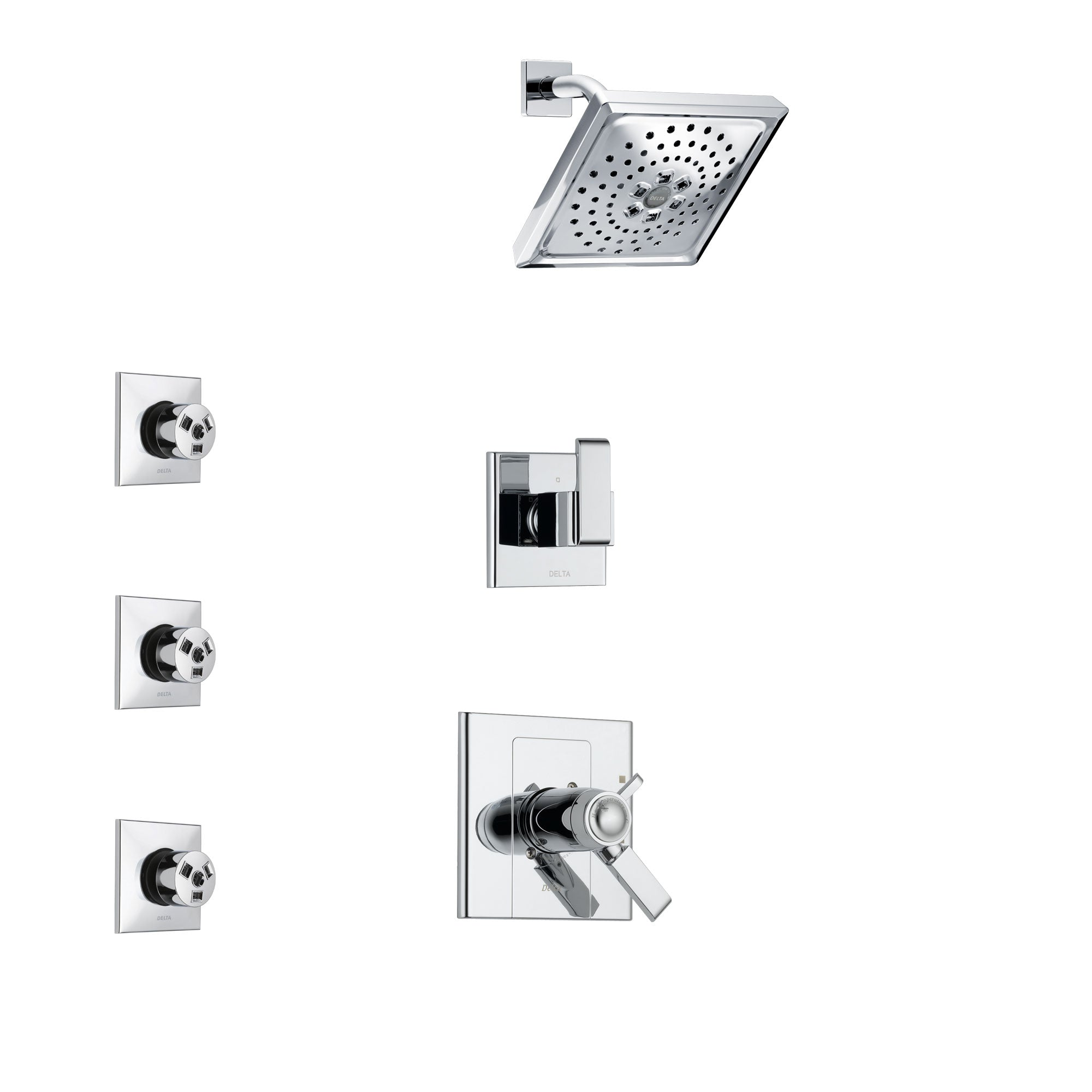 Delta Arzo Chrome Finish Shower System with Dual Thermostatic Control Handle, 3-Setting Diverter, Showerhead, and 3 Body Sprays SS17T8618