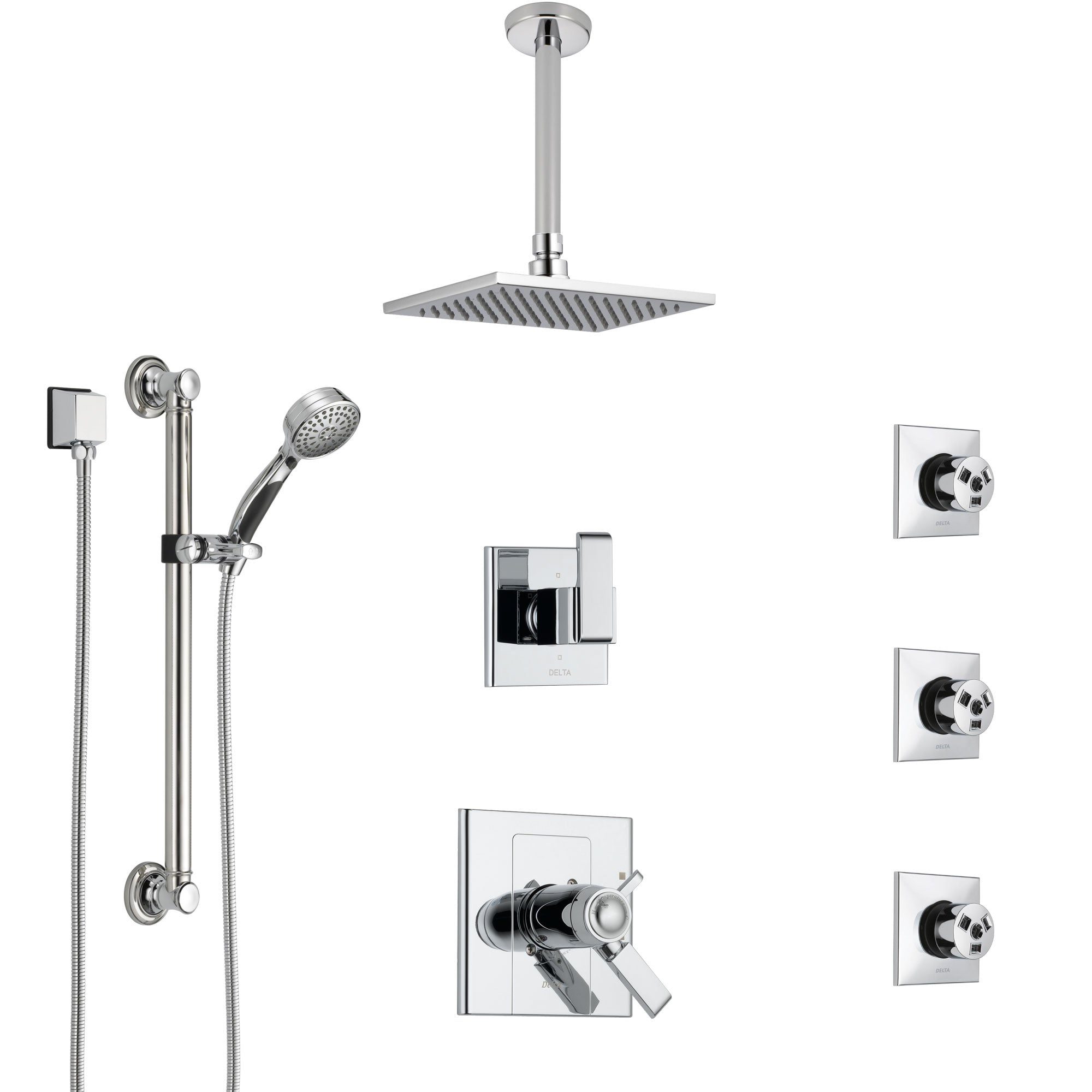 Delta Arzo Chrome Shower System with Dual Thermostatic Control, Diverter, Ceiling Mount Showerhead, 3 Body Sprays, and Grab Bar Hand Shower SS17T8622