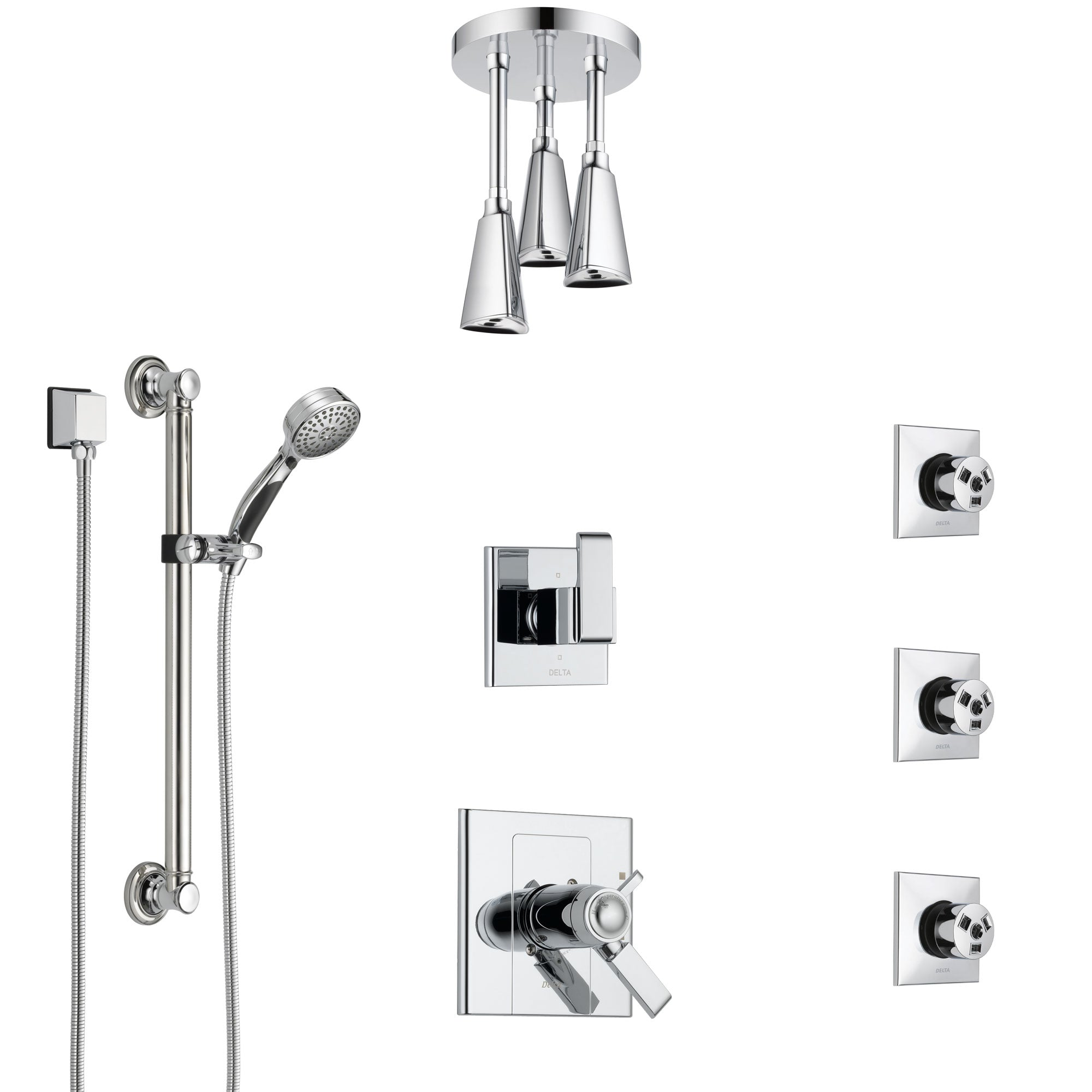 Delta Arzo Chrome Shower System with Dual Thermostatic Control, Diverter, Ceiling Mount Showerhead, 3 Body Sprays, and Grab Bar Hand Shower SS17T8623