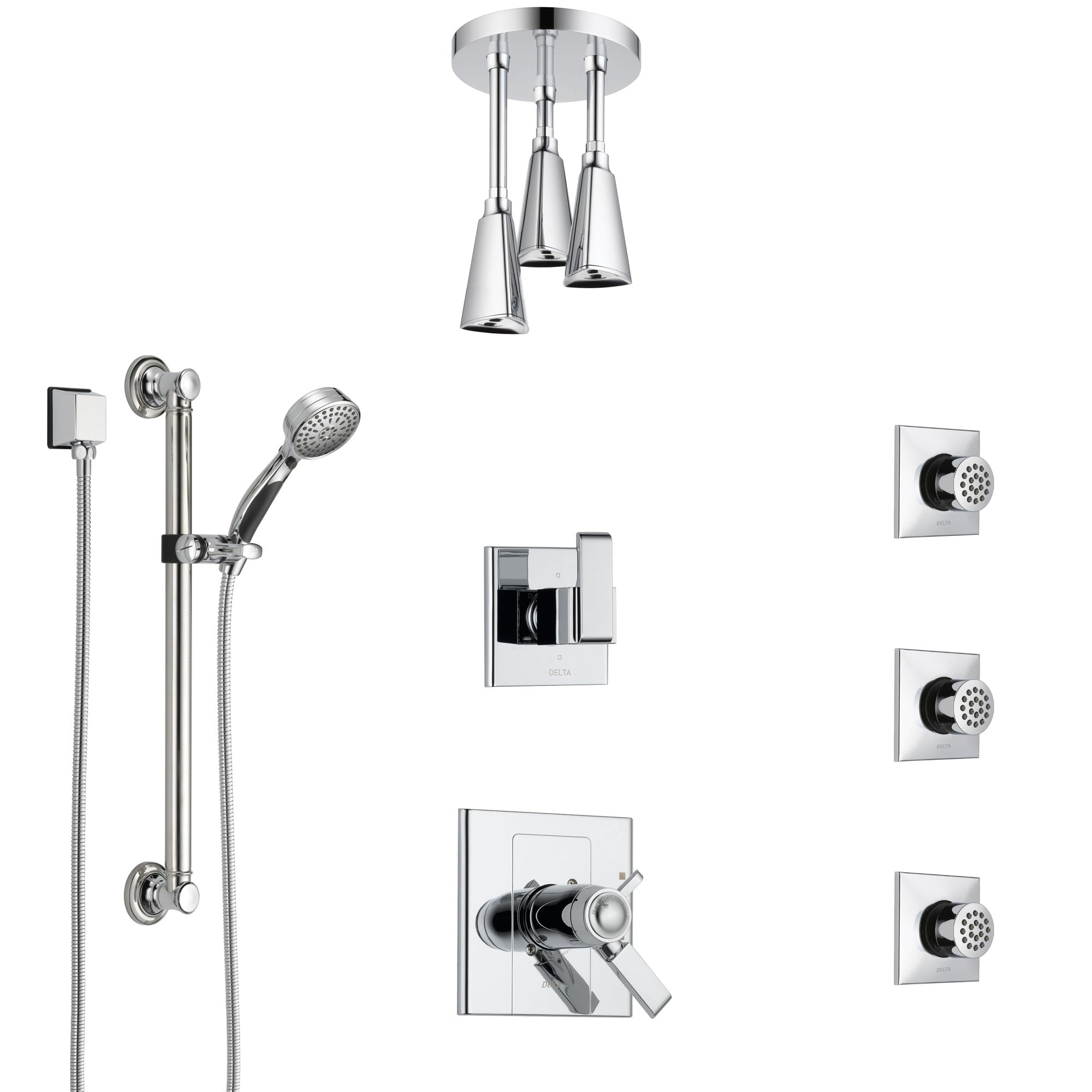 Delta Arzo Chrome Shower System with Dual Thermostatic Control, Diverter, Ceiling Mount Showerhead, 3 Body Sprays, and Grab Bar Hand Shower SS17T8624