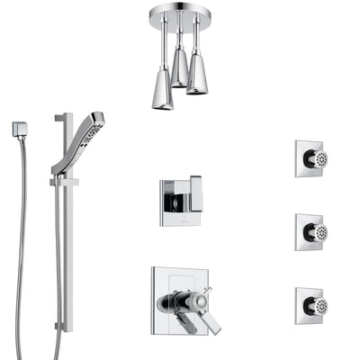 Delta Arzo Chrome Shower System with Dual Thermostatic Control, 6-Setting Diverter, Ceiling Mount Showerhead, 3 Body Sprays, and Hand Shower SS17T8625