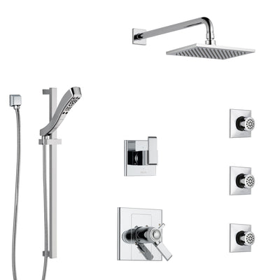 Delta Arzo Chrome Finish Shower System with Dual Thermostatic Control Handle, 6-Setting Diverter, Showerhead, 3 Body Sprays, and Hand Shower SS17T8626