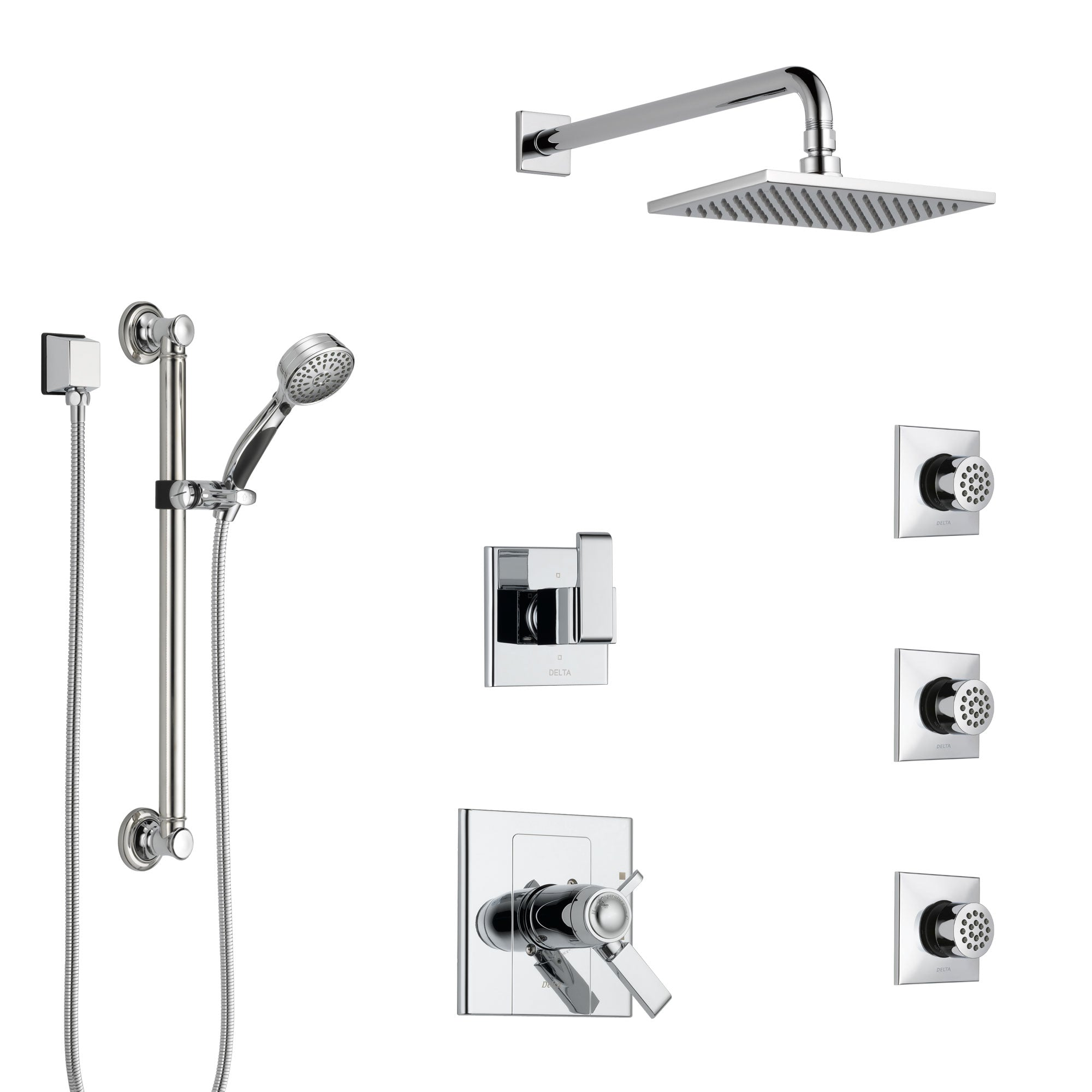 Delta Arzo Chrome Shower System with Dual Thermostatic Control, 6-Setting Diverter, Showerhead, 3 Body Sprays, and Hand Shower with Grab Bar SS17T8627