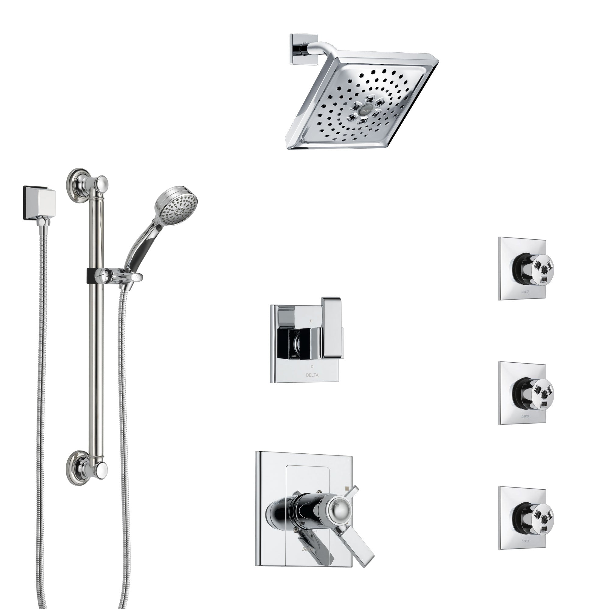 Delta Arzo Chrome Shower System with Dual Thermostatic Control, 6-Setting Diverter, Showerhead, 3 Body Sprays, and Hand Shower with Grab Bar SS17T8628