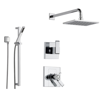 Delta Arzo Chrome Shower System with Thermostatic Shower Handle, 3-setting Diverter, Large Square Showerhead, and Hand Held Shower SS17T8682