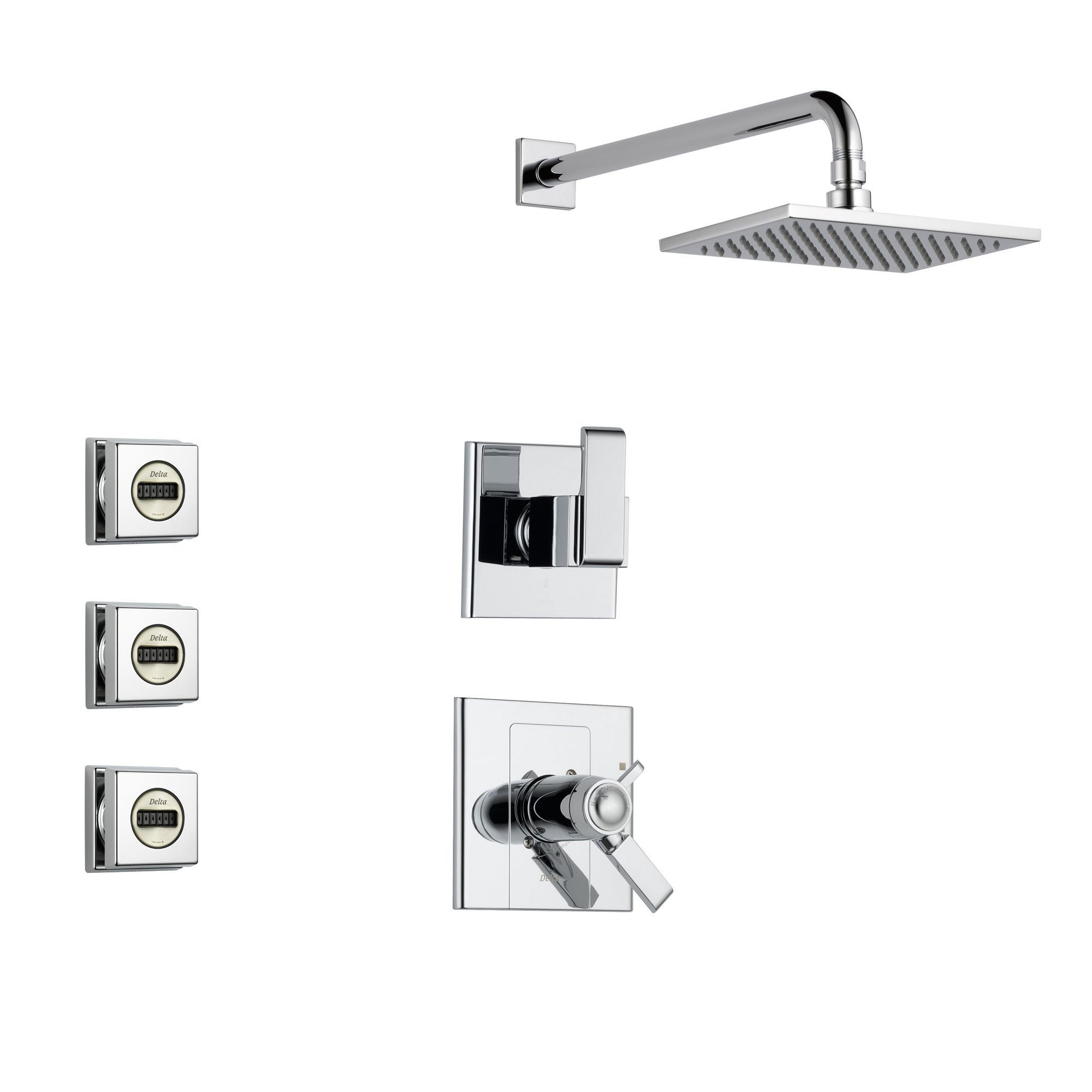 Delta Arzo Chrome Shower System with Thermostatic Shower Handle, 3-setting Diverter, Large Square Rain Showerhead, and 3 Modern Body Sprays SS17T8683