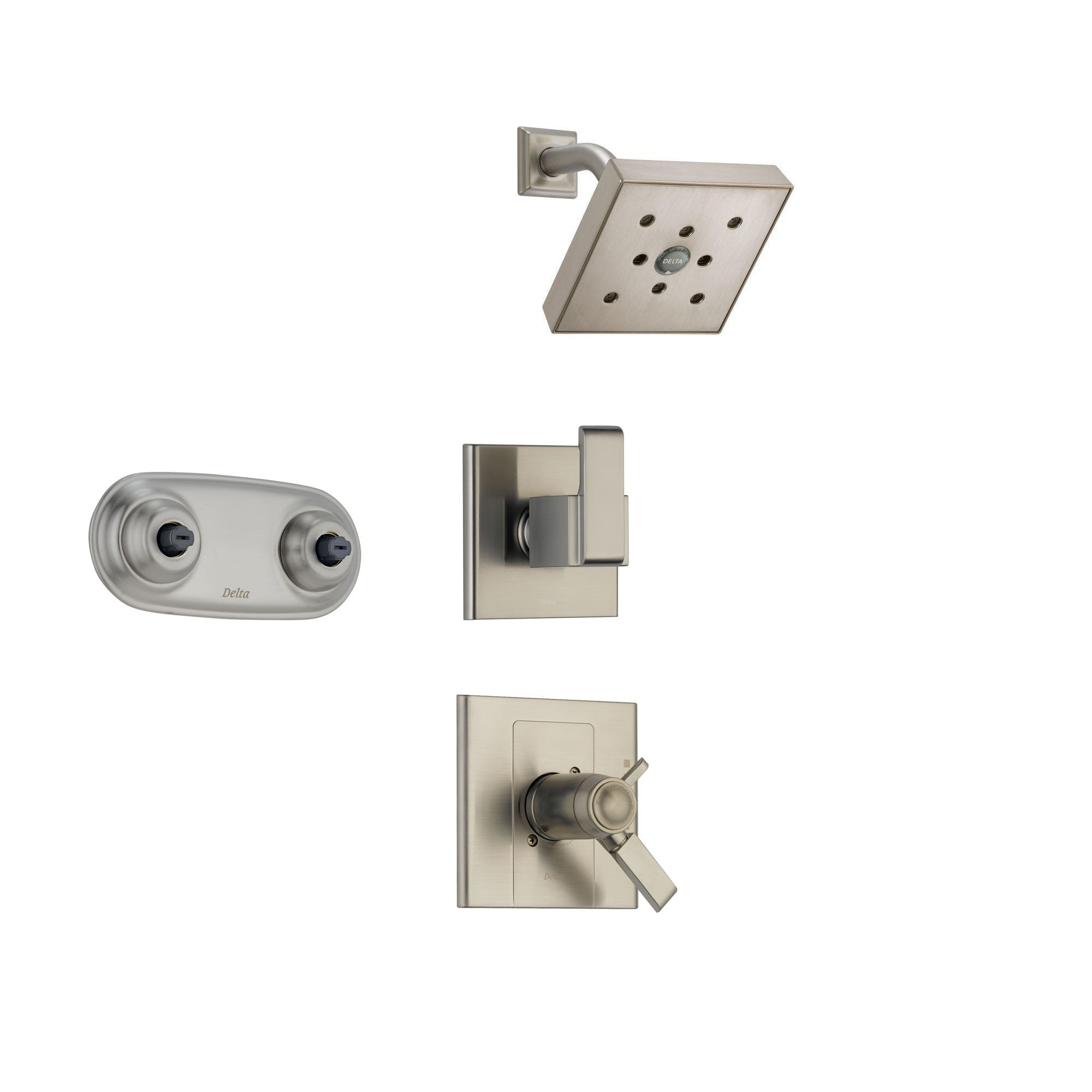 Delta Arzo Stainless Steel Shower System with Thermostatic Shower Handle, 3-setting Diverter, Square Modern Showerhead, and Dual Body Spray Plate SS17T8684SS