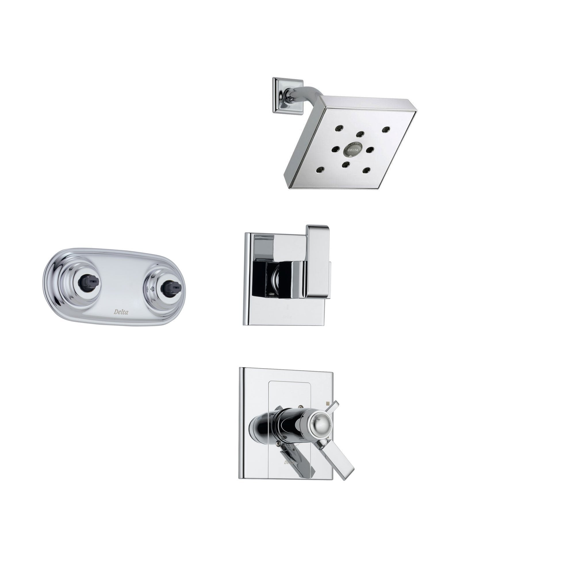 Delta Arzo Chrome Shower System with Thermostatic Shower Handle, 3-setting Diverter, Modern Square Showerhead, and Dual Body Spray Shower Plate SS17T8684