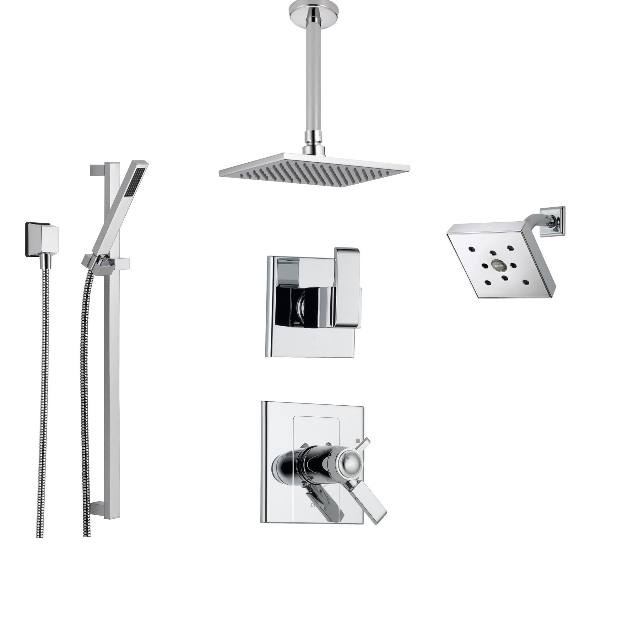 Delta Arzo Chrome Shower System with Thermostatic Shower Handle, 6-setting Diverter, Modern Square Shower Head, Handheld Shower, and Wall Mount Showerhead SS17T8691