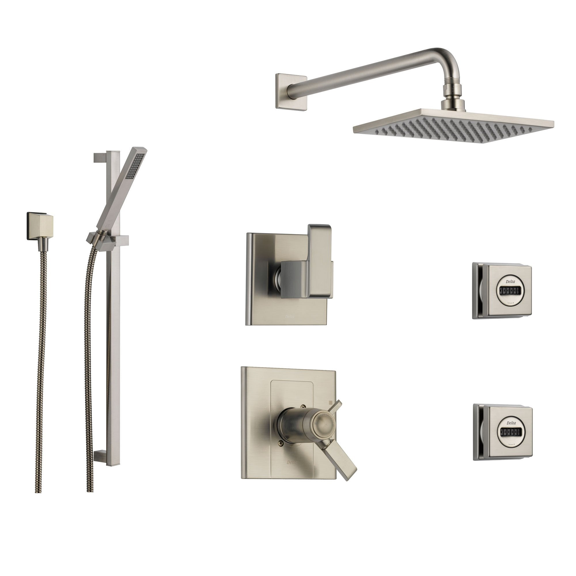 Delta Arzo Stainless Steel Shower System with Thermostatic Shower Handle, 6-setting Diverter, Large Square Showerhead, Modern Handheld Shower, and 2 Body Sprays SS17T8692SS