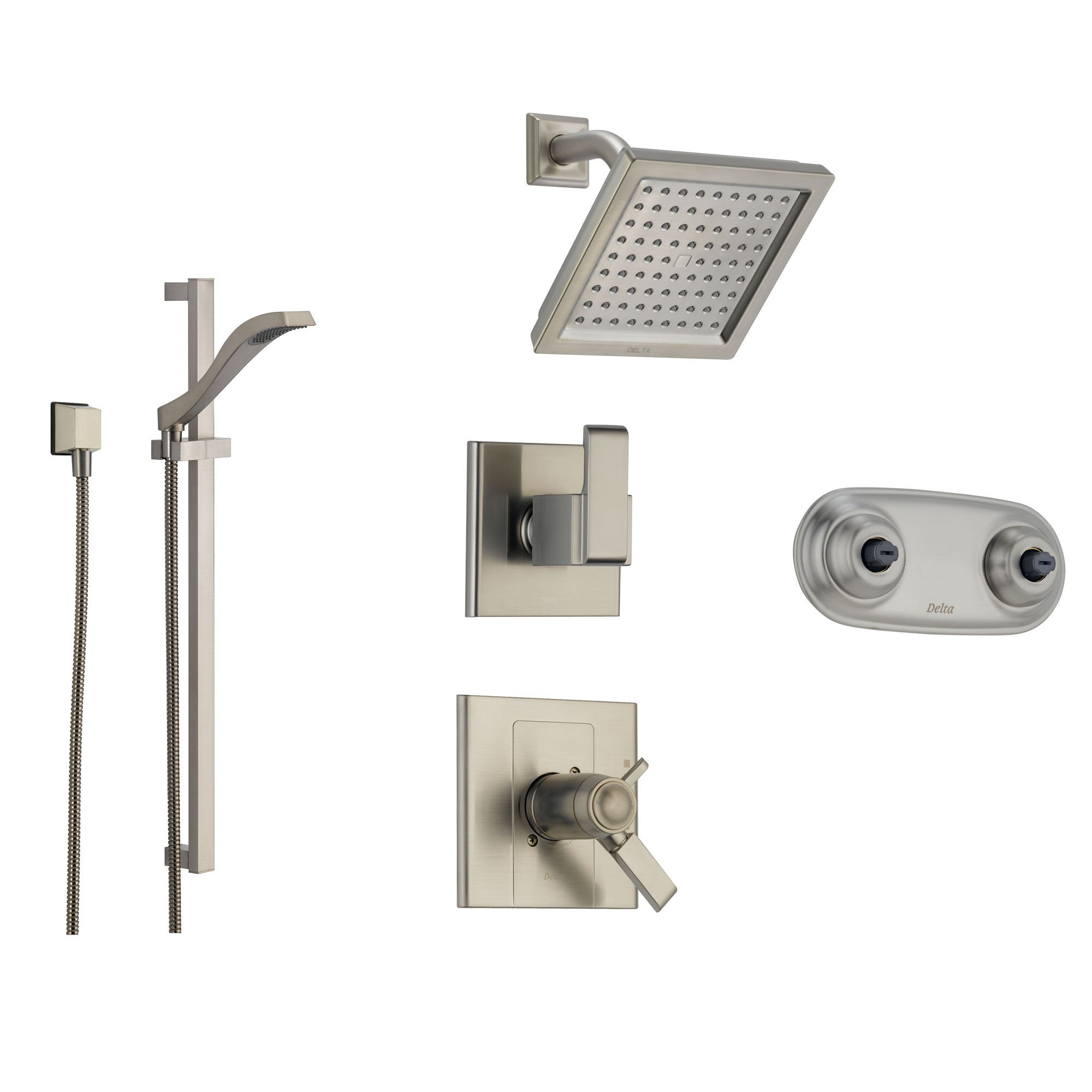Delta Arzo Stainless Steel Shower System with Thermostatic Shower Handle, 6-setting Diverter, Square Showerhead, Modern Hand Held Shower, and Dual Body Spray Plate SS17T8693SS