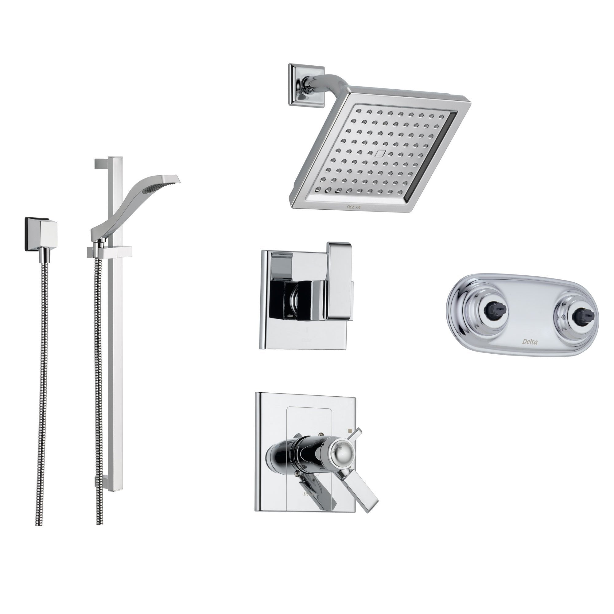 Delta Arzo Chrome Shower System with Thermostatic Shower Handle, 6-setting Diverter, Modern Square Showerhead, Handheld Shower, and Dual Body Spray Plate SS17T8693