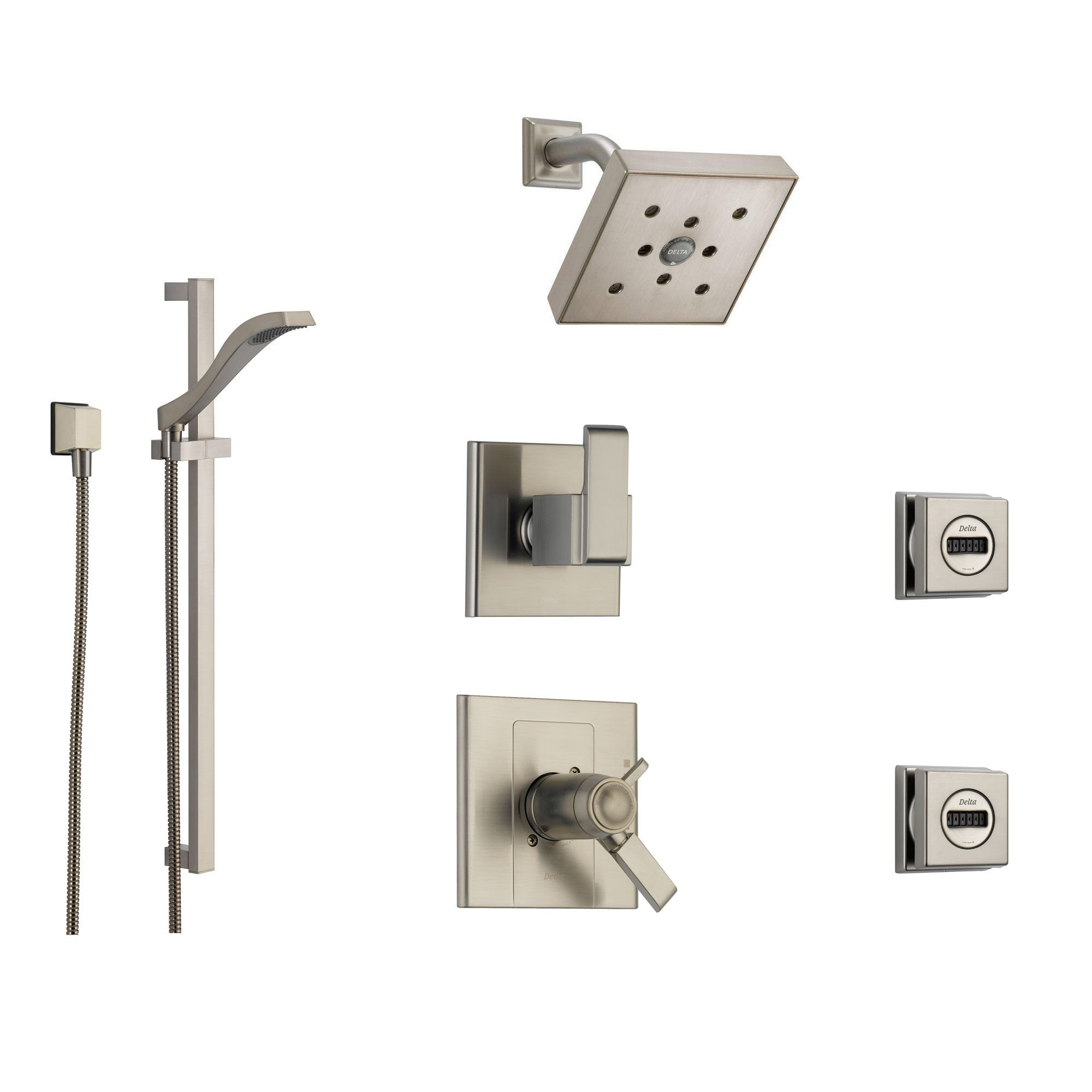 Delta Arzo Stainless Steel Shower System with Thermostatic Shower Handle, 6-setting Diverter, Square Showerhead, Modern Handheld Shower Spray, and 2 Body Sprays SS17T8694SS