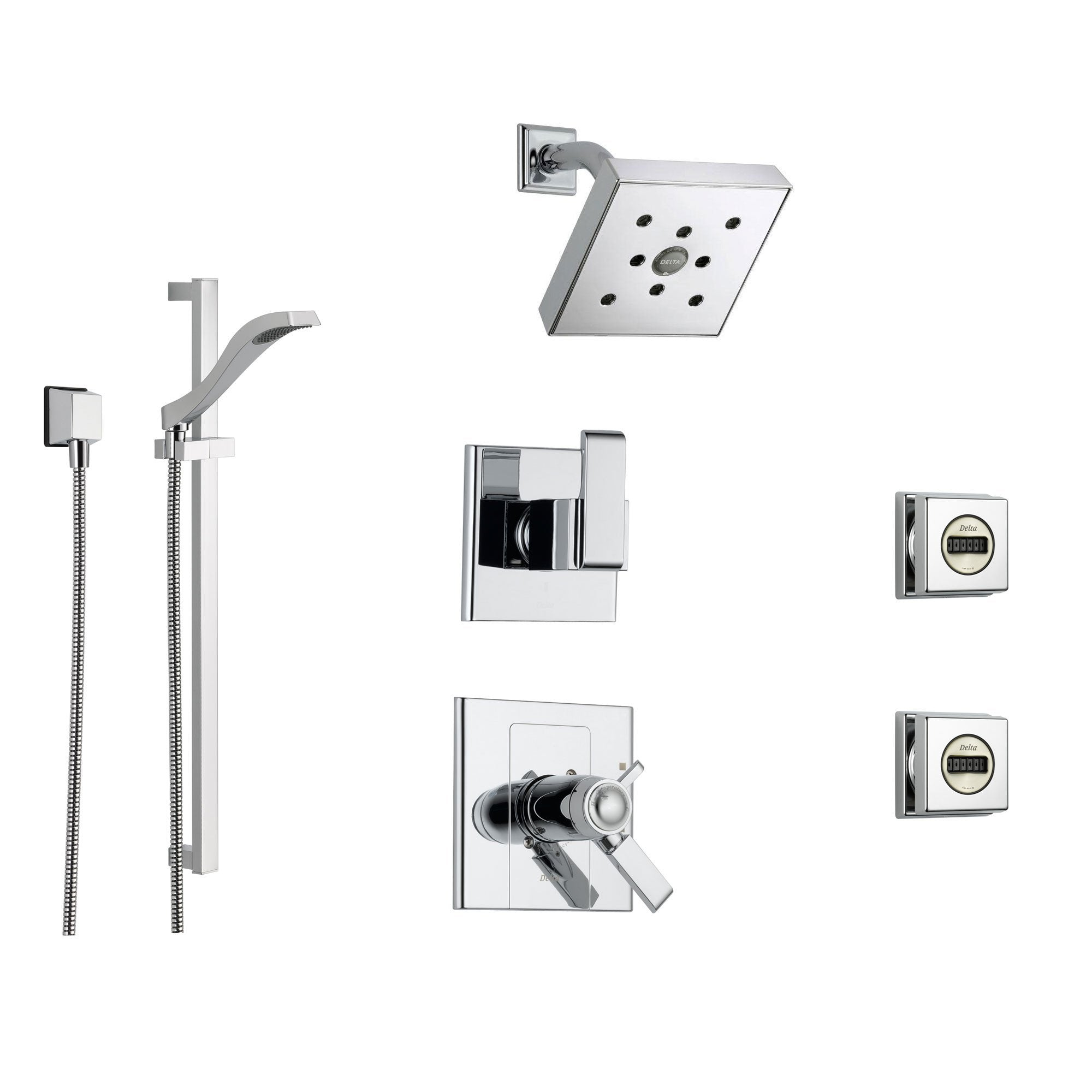 Delta Arzo Chrome Shower System with Thermostatic Shower Handle, 6-setting Diverter, Modern Square Showerhead, Handheld Shower, and 2 Body Sprays SS17T8694