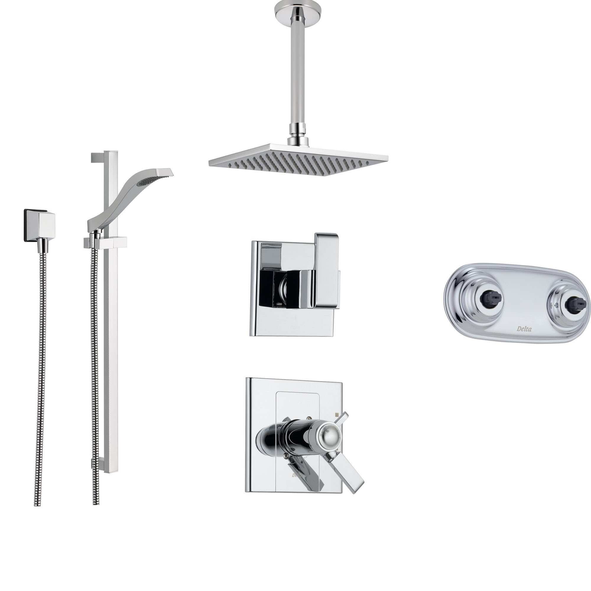 Delta Arzo Chrome Shower System with Thermostatic Shower Handle, 6-setting Diverter, Modern Ceiling Mount Showerhead, Hand Shower, and Dual Body Spray Plate SS17T8695