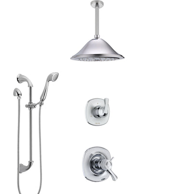 Delta Addison Chrome Finish Shower System with Dual Thermostatic Control Handle, Diverter, Ceiling Mount Showerhead, and Hand Shower SS17T9211