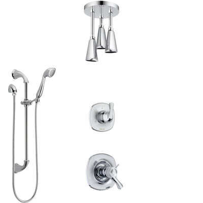 Delta Addison Chrome Finish Shower System with Dual Thermostatic Control Handle, Diverter, Ceiling Mount Showerhead, and Hand Shower SS17T9215