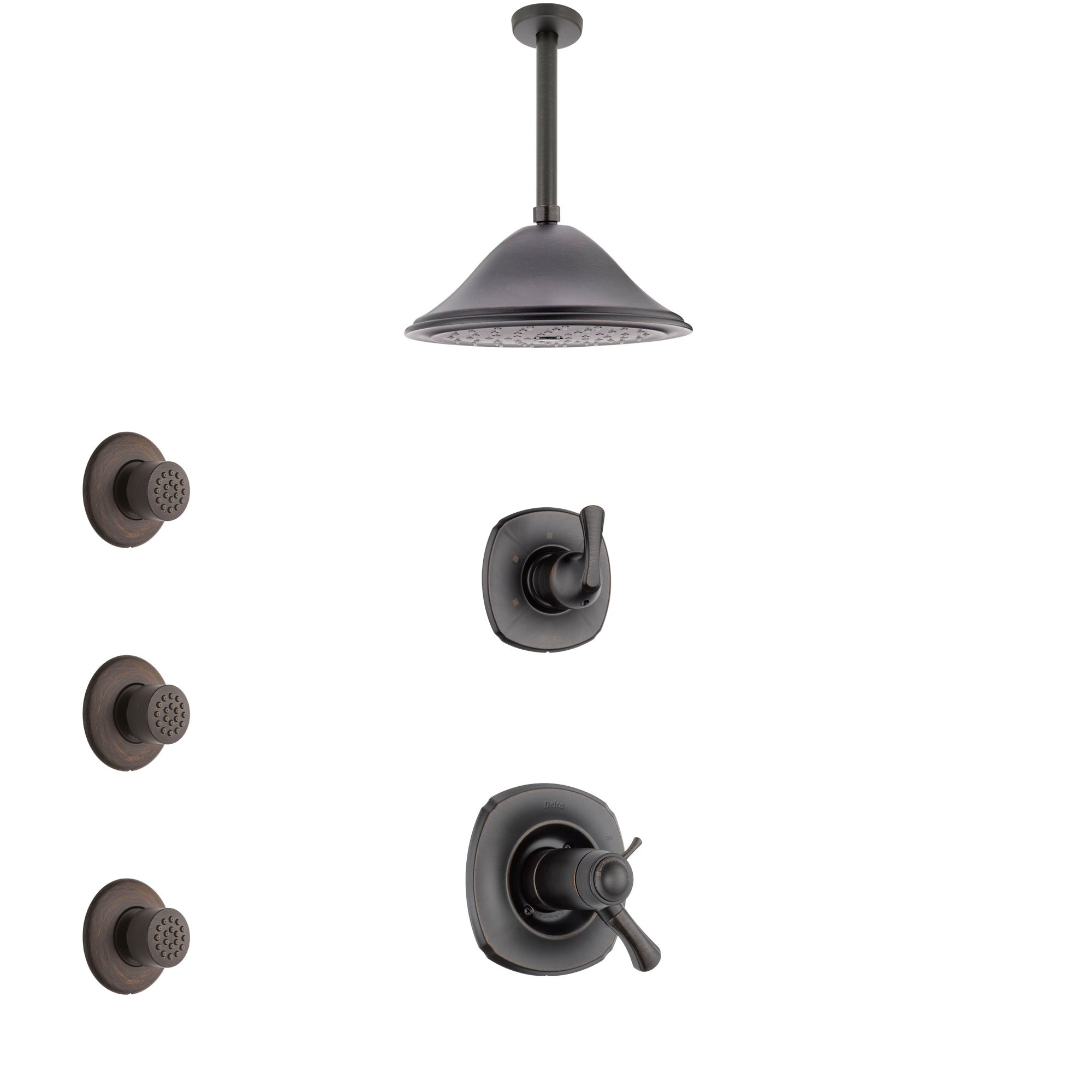 Delta Addison Venetian Bronze Shower System with Dual Thermostatic Control Handle, Diverter, Ceiling Mount Showerhead, and 3 Body Sprays SS17T921RB7