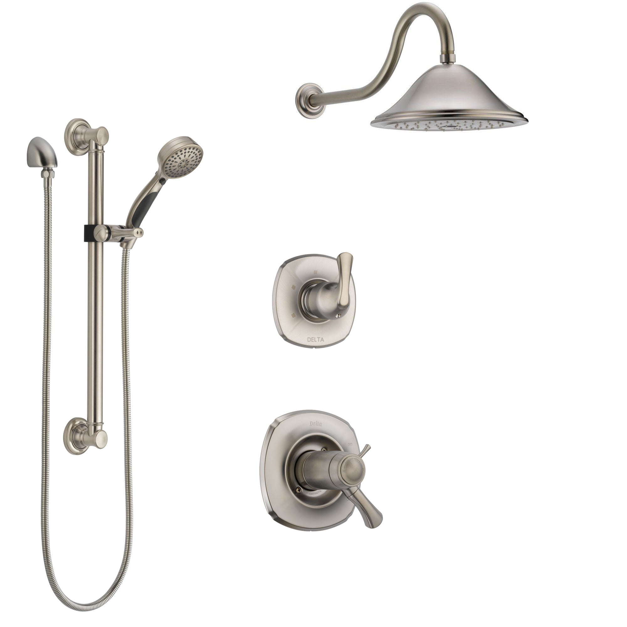 Delta Addison Dual Thermostatic Control Handle Stainless Steel Finish Shower System, Diverter, Showerhead, and Hand Shower with Grab Bar SS17T921SS1