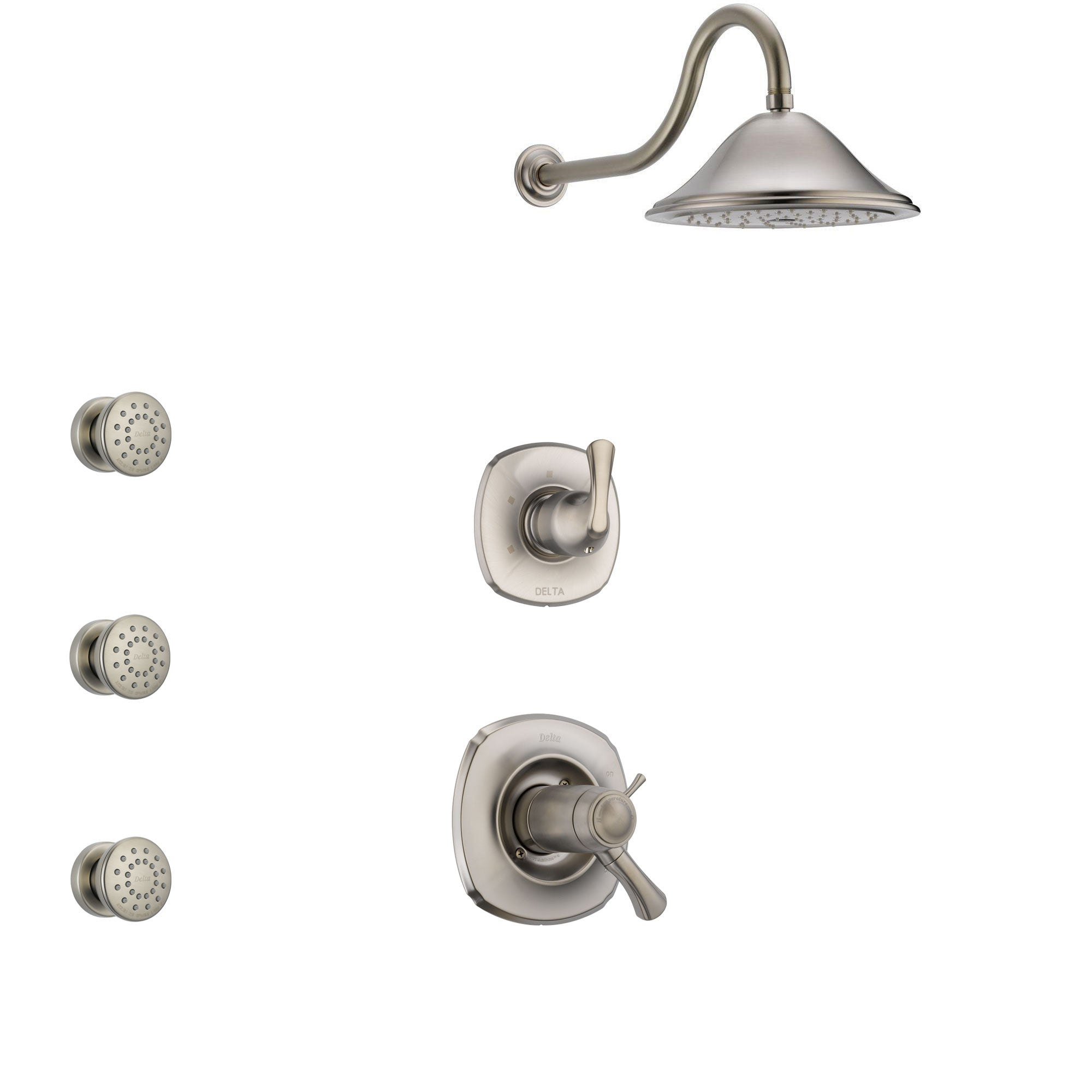 Delta Addison Dual Thermostatic Control Handle Stainless Steel Finish Shower System, 3-Setting Diverter, Showerhead, and 3 Body Sprays SS17T921SS3