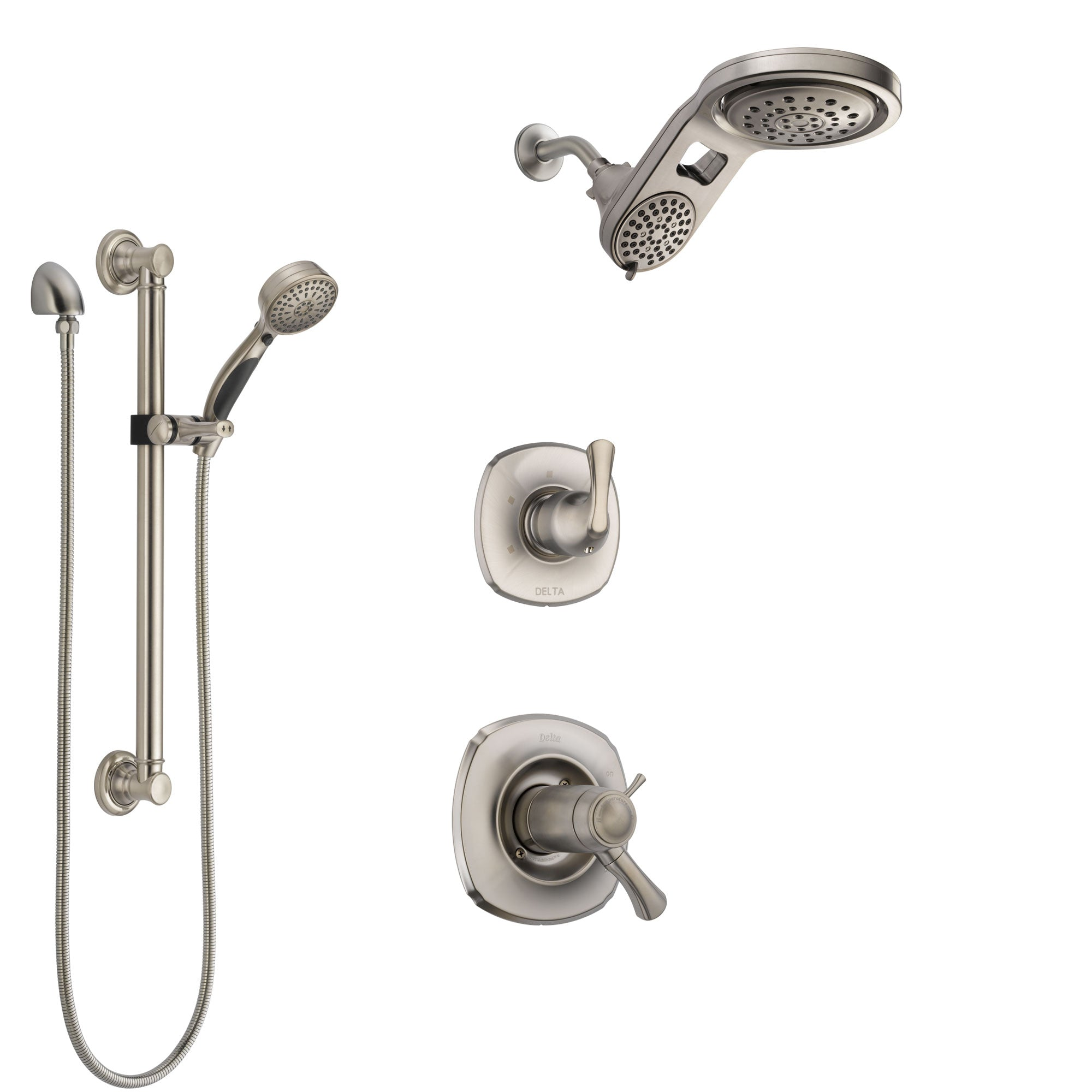 Delta Addison Dual Thermostatic Control Stainless Steel Finish Shower System, Diverter, Dual Showerhead, and Hand Shower with Grab Bar SS17T921SS5