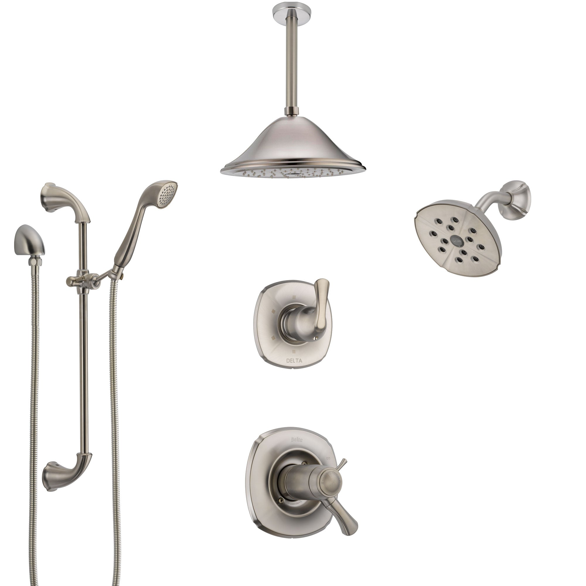 Delta Addison Dual Thermostatic Control Stainless Steel Finish Shower System, Diverter, Showerhead, Ceiling Showerhead, and Hand Shower SS17T922SS2
