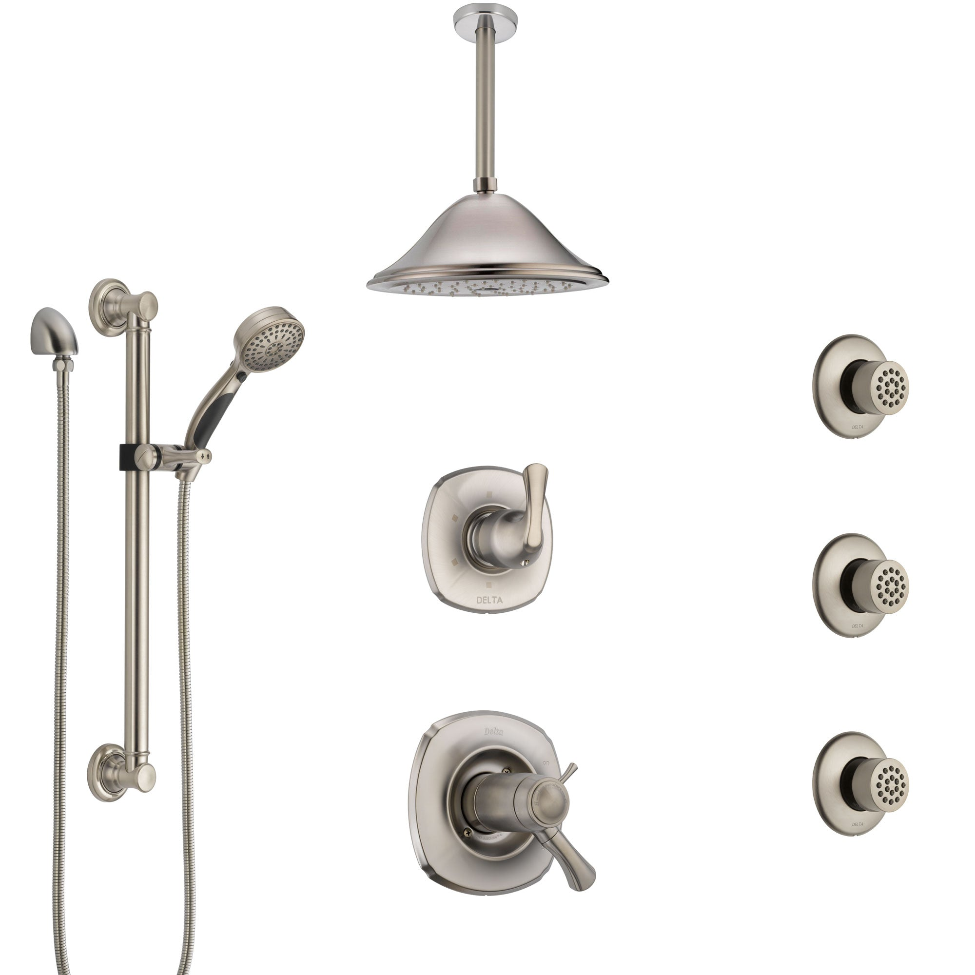 Delta Addison Dual Thermostatic Control Stainless Steel Finish Shower System with Ceiling Showerhead, 3 Body Jets, Grab Bar Hand Spray SS17T922SS4