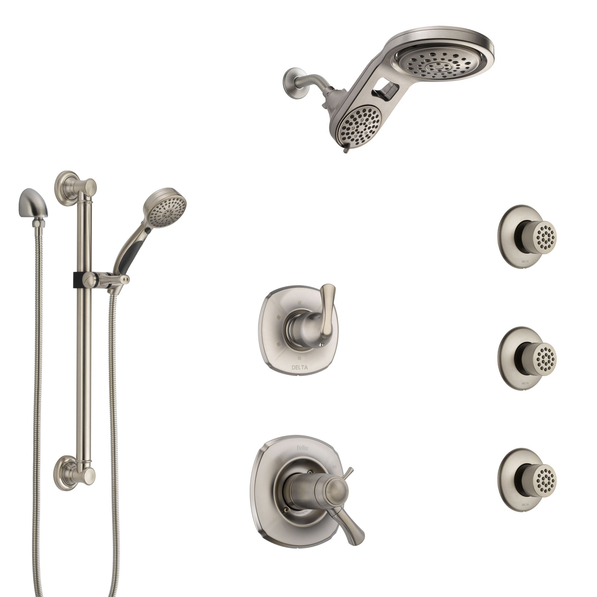 Delta Addison Dual Thermostatic Control Stainless Steel Finish Shower System, Diverter, Dual Showerhead, 3 Body Jets, Grab Bar Hand Spray SS17T922SS6