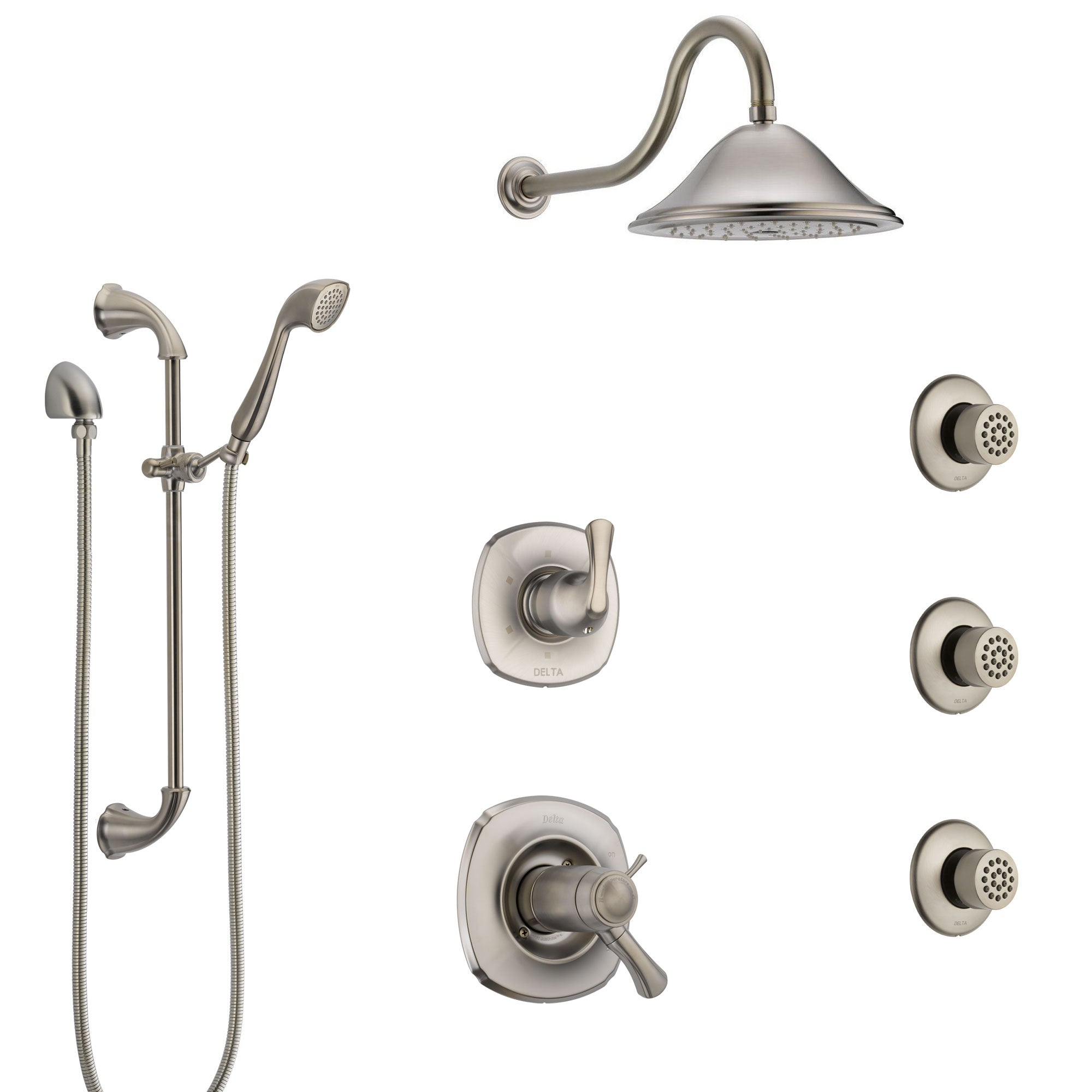 Delta Addison Dual Thermostatic Control Stainless Steel Finish Shower System, Diverter, Showerhead, 3 Body Sprays, and Hand Shower SS17T922SS7