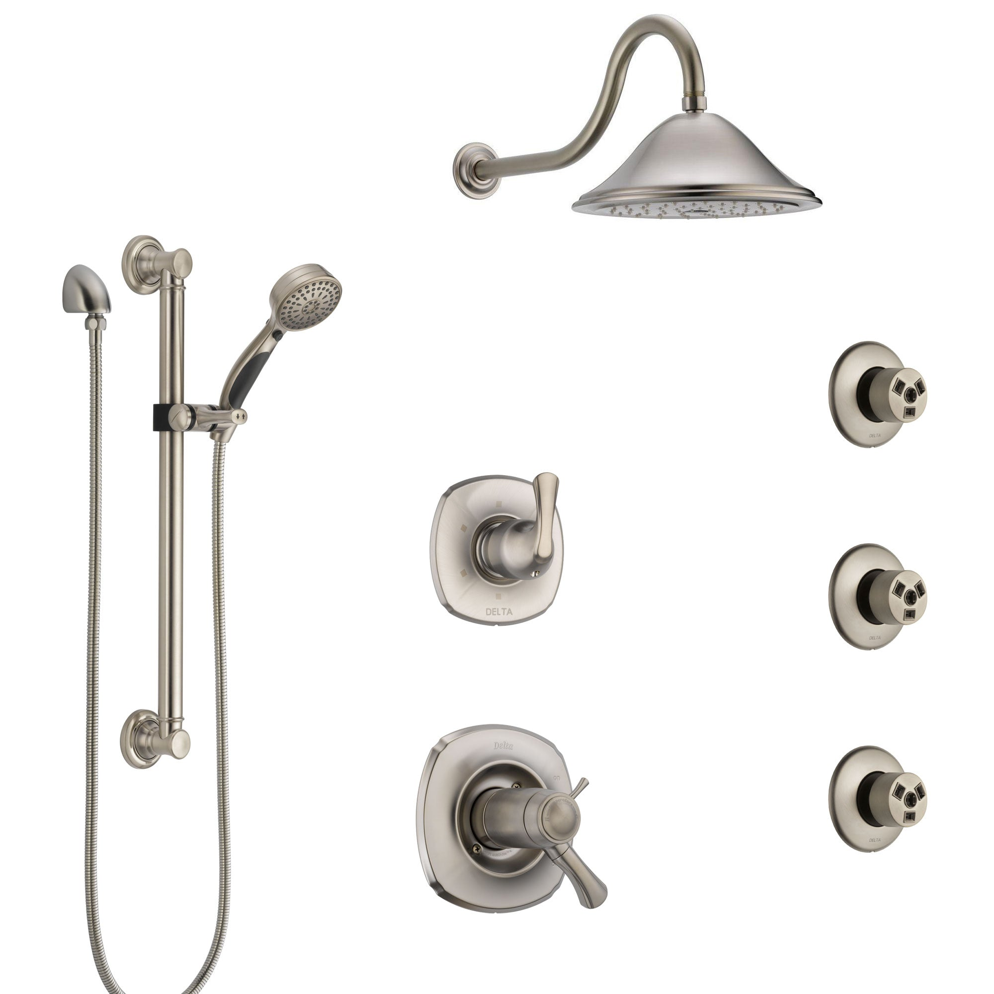 Delta Addison Dual Thermostatic Control Stainless Steel Finish Shower System, Diverter, Showerhead, 3 Body Sprays, and Grab Bar Hand Spray SS17T922SS8