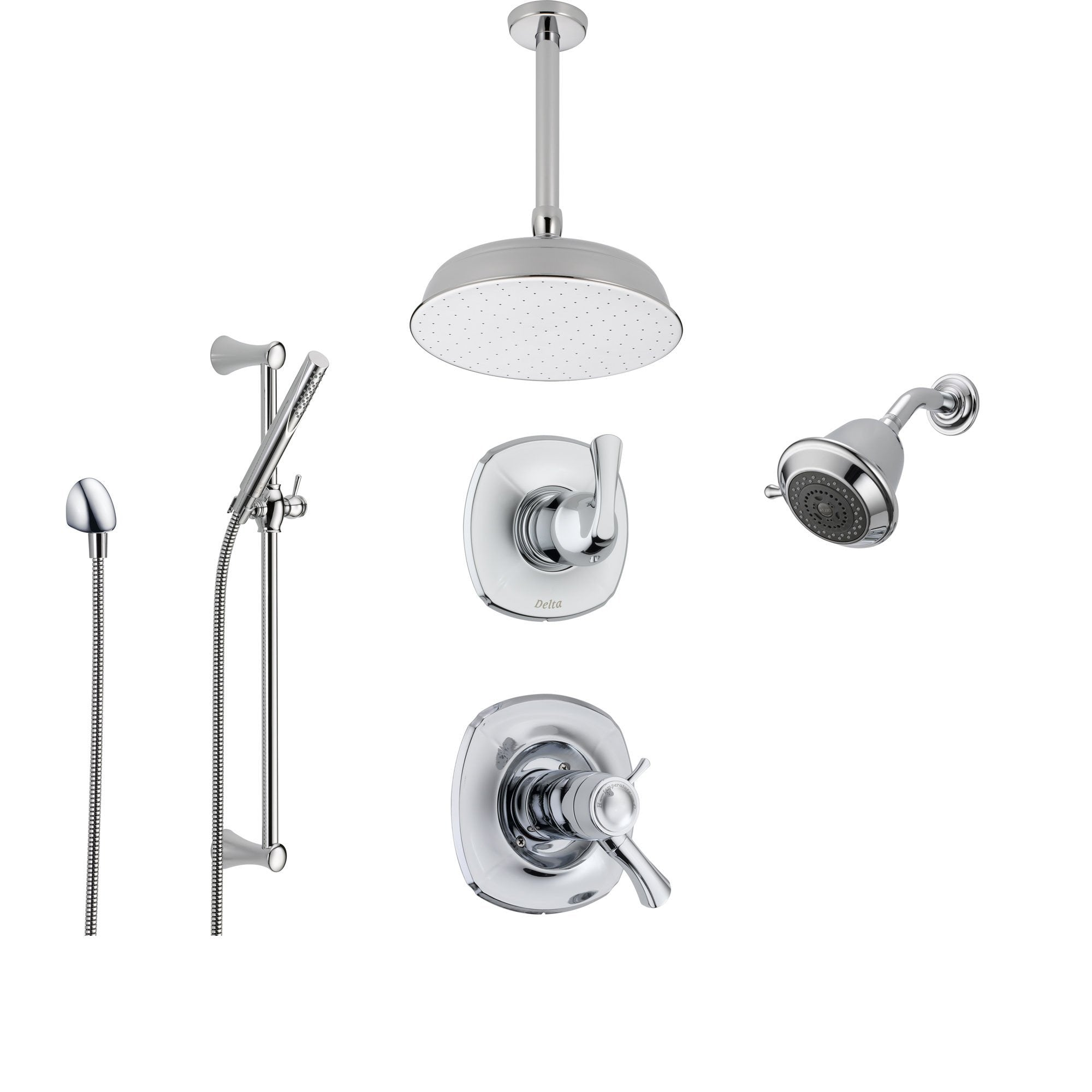Delta Addison Chrome Shower System With Thermostatic Shower Handle,  6 Setting Diverter, Large