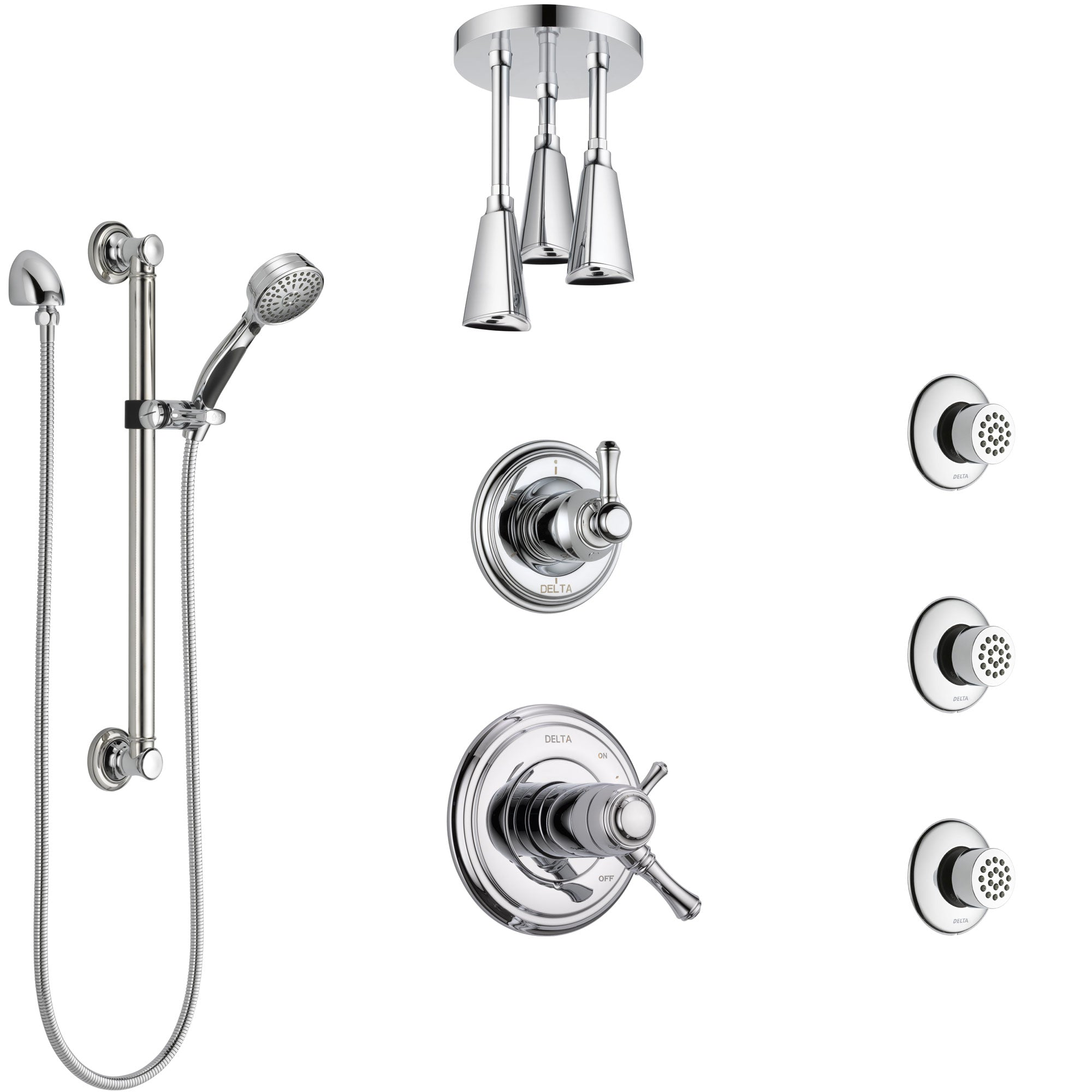Delta Cassidy Chrome Shower System with Dual Thermostatic Control, Diverter, Ceiling Showerhead, 3 Body Sprays, and Grab Bar Hand Shower SS17T9713