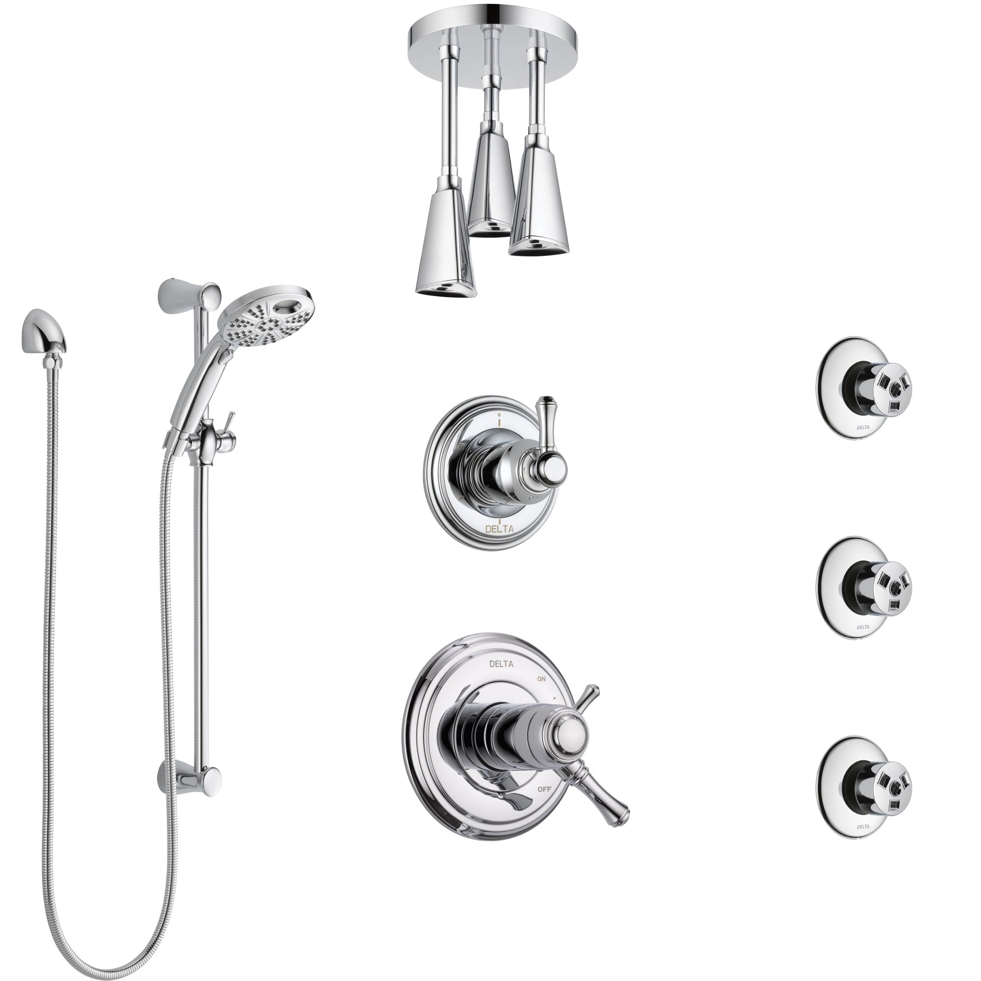 Delta Cassidy Chrome Shower System with Dual Thermostatic Control, Diverter, Ceiling Mount Showerhead, 3 Body Sprays, and Temp2O Hand Shower SS17T9714