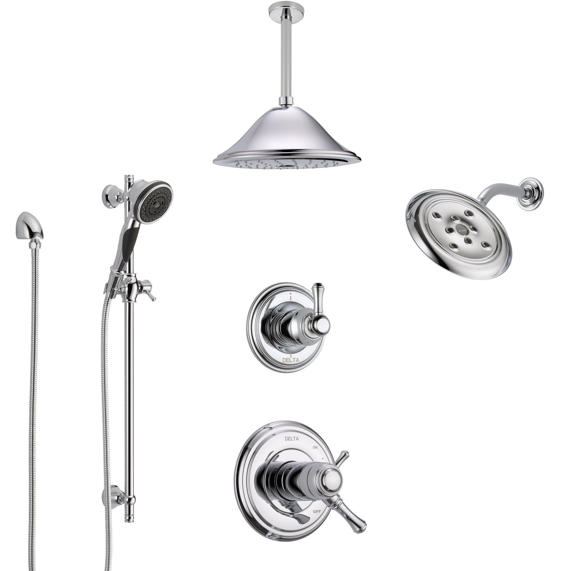 Delta Cassidy Chrome Shower System with Dual Thermostatic Control, 6-Setting Diverter, Showerhead, Ceiling Mount Showerhead, and Hand Shower SS17T9716