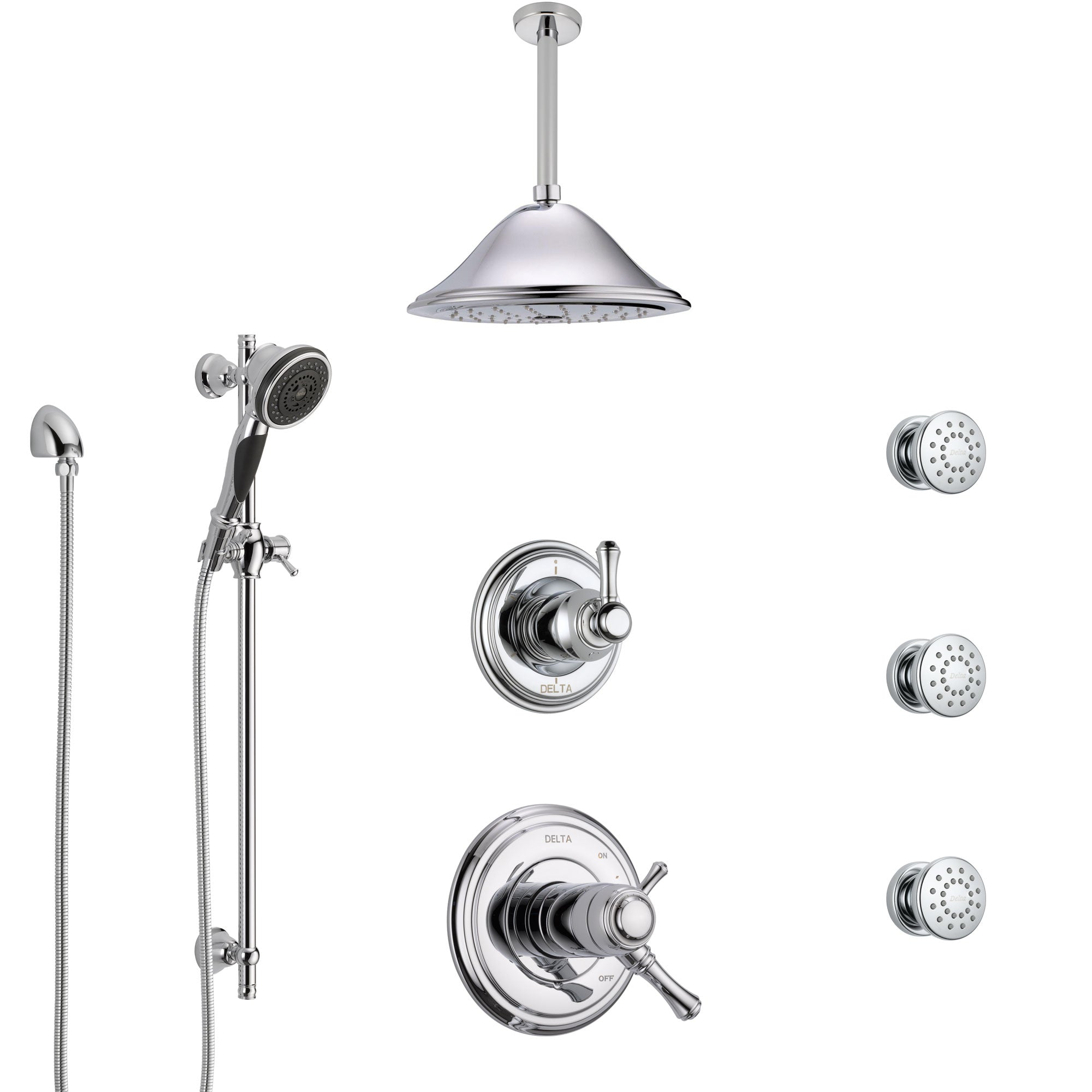 Delta Cassidy Chrome Shower System with Dual Thermostatic Control, Diverter, Ceiling Mount Showerhead, 3 Body Sprays, and Hand Shower SS17T9717
