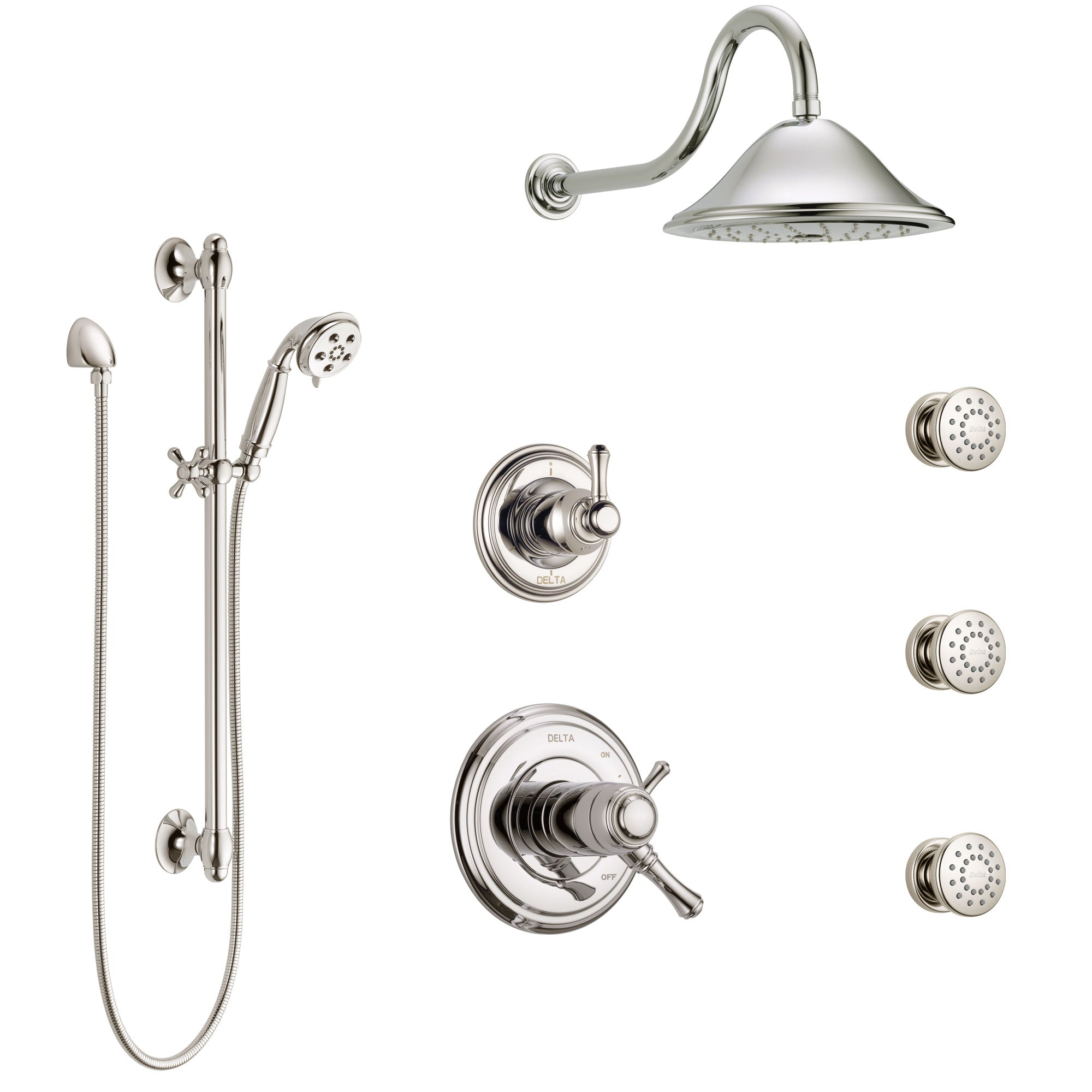 Delta Cassidy Polished Nickel Shower System with Dual Thermostatic Control, 6-Setting Diverter, Showerhead, 3 Body Sprays, and Hand Shower SS17T971PN2