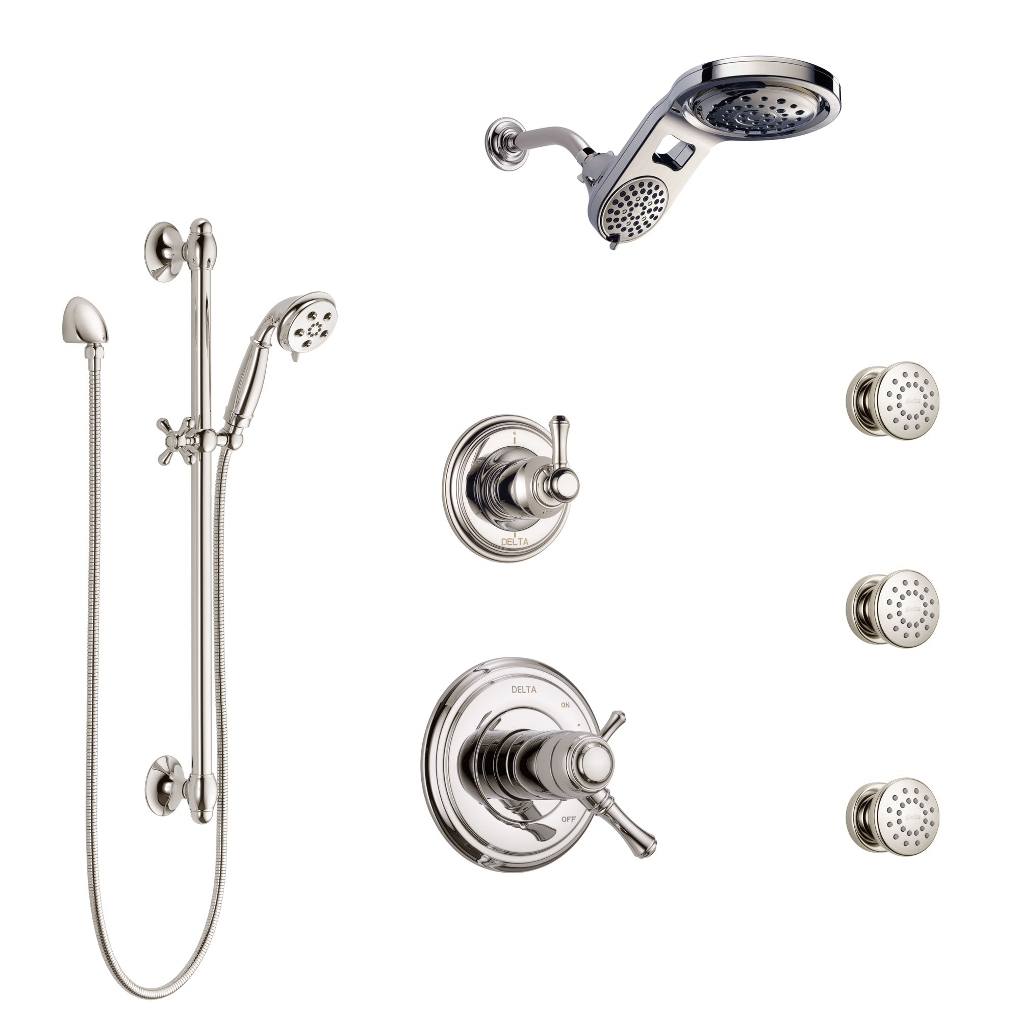 Delta Cassidy Polished Nickel Shower System with Dual Thermostatic Control, Diverter, Dual Showerhead, 3 Body Sprays, and Hand Shower SS17T971PN3