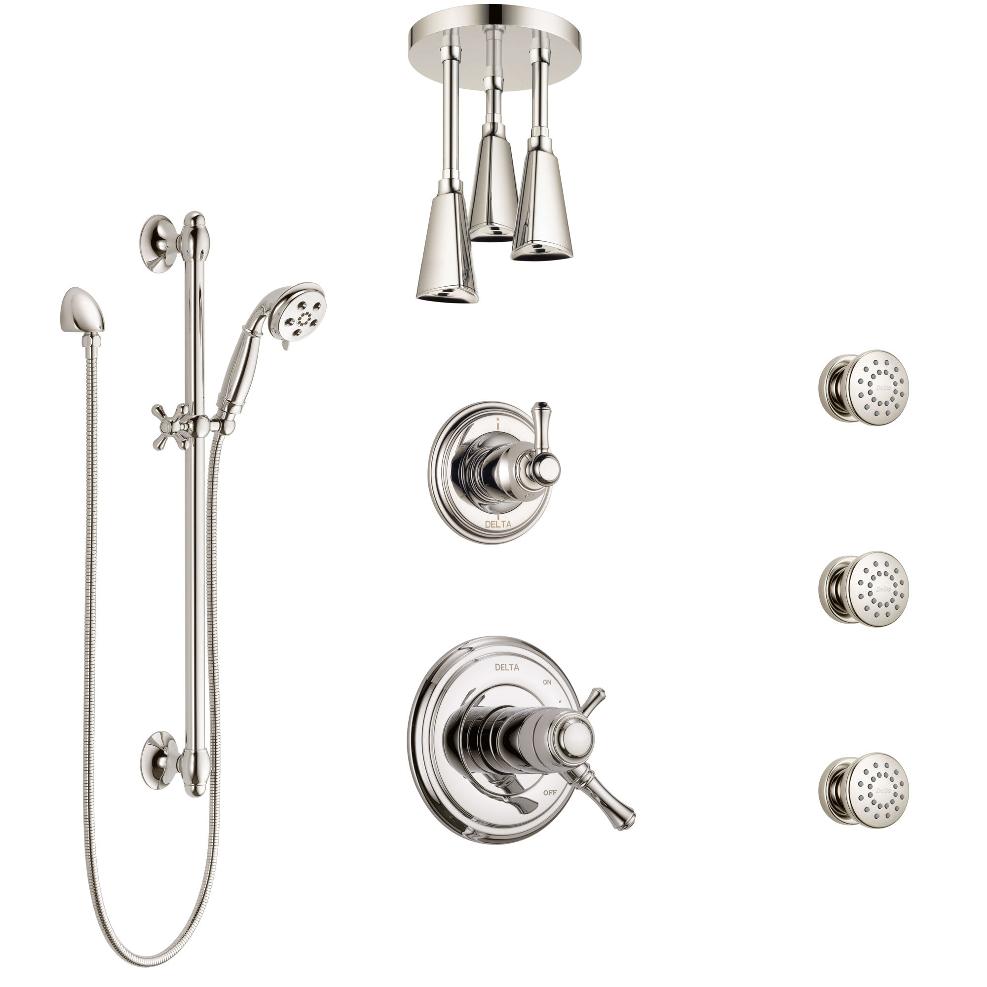 Delta Cassidy Polished Nickel Shower System with Dual Thermostatic Control, Diverter, Ceiling Showerhead, 3 Body Sprays, and Hand Shower SS17T971PN4